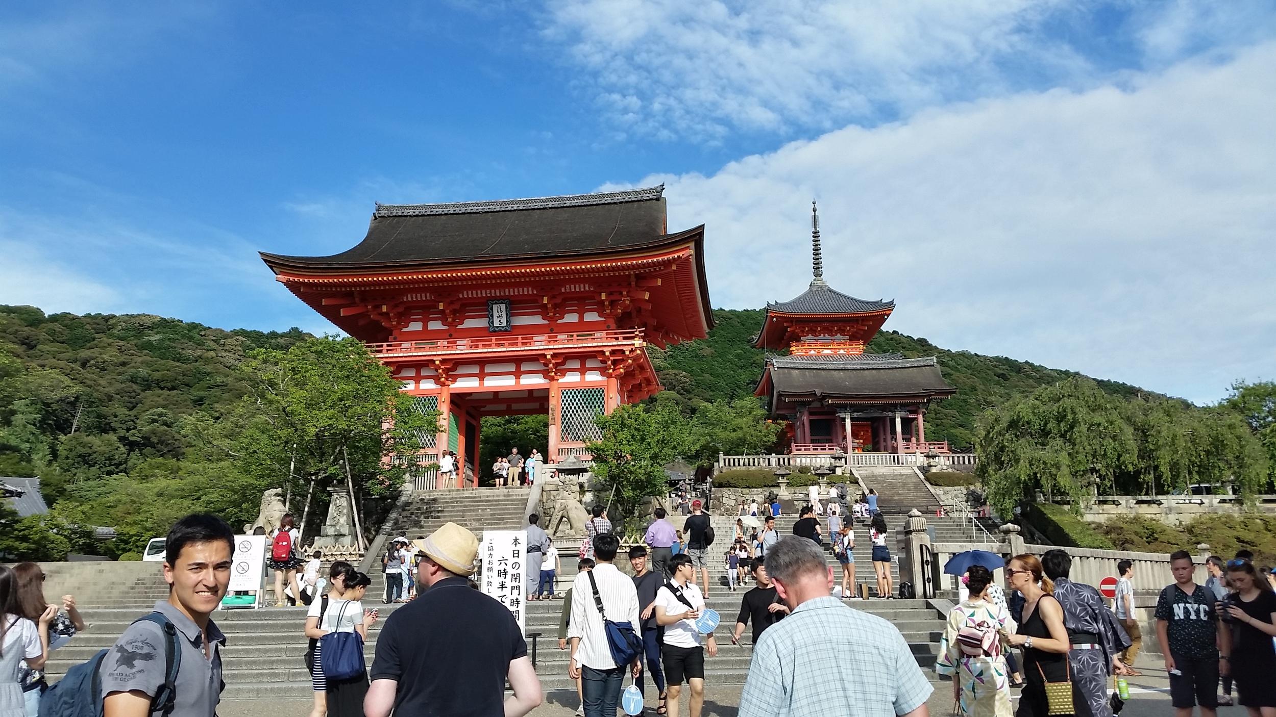 Exploring Kiyomizu-dera, a famous Buddhist temple, on a mountain in Kyoto