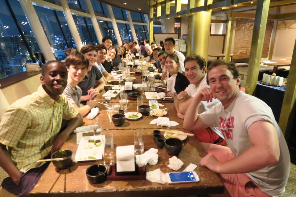 Dining on the top floor of a hotel in Osaka