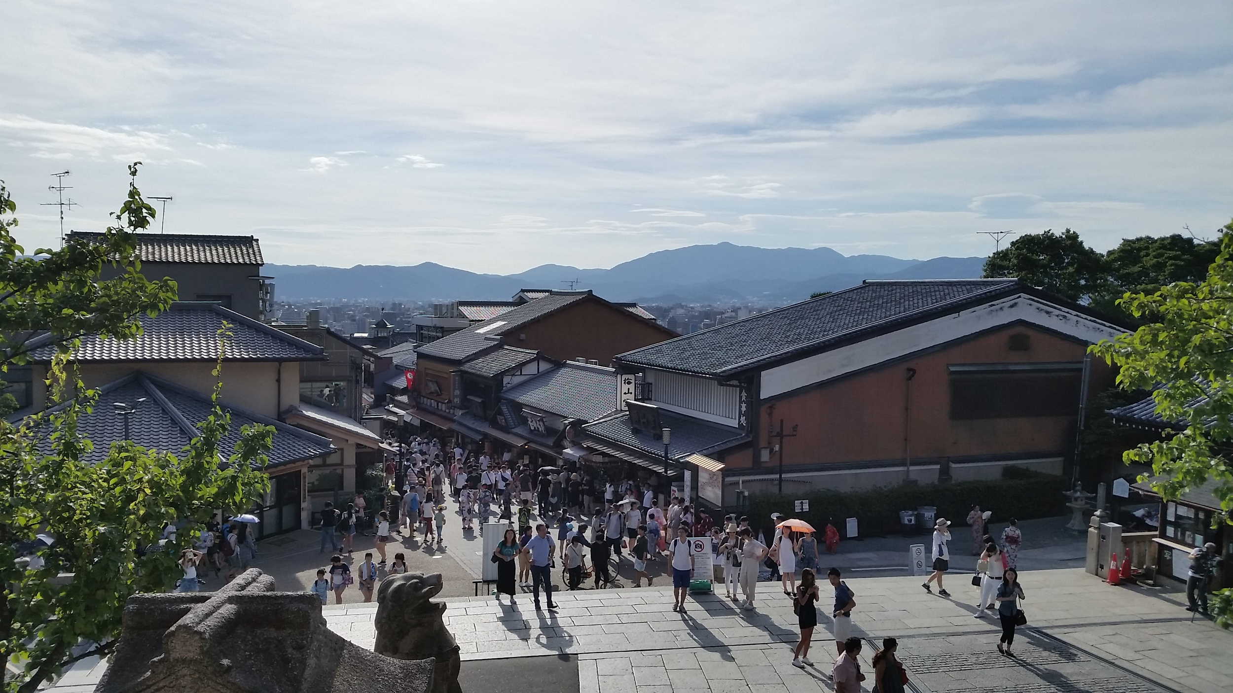 A view of the busy walking streets of Kyoto