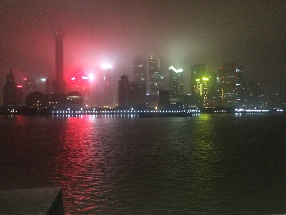 Our very cloudy view of Shanghai's skyline from the Bund on our last night in Shanghai