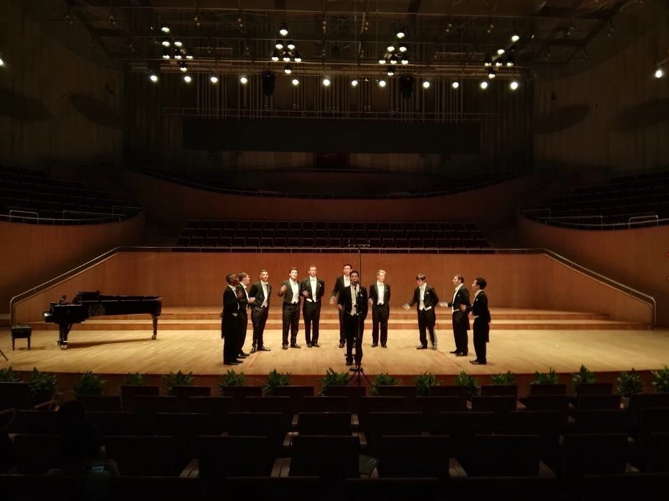 Performing on the stage of the Shanghai Oriental Arts Center, one of our nicest venues so far