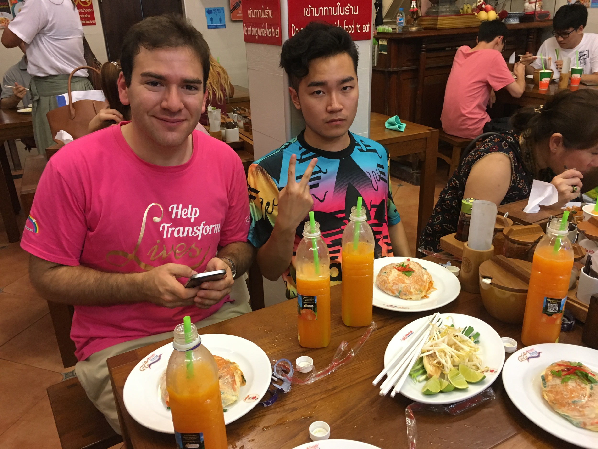 """Everett and Leon chowing down on the """"Superb Pad Thai"""" at the fantastic Thip Samai restaurant"""
