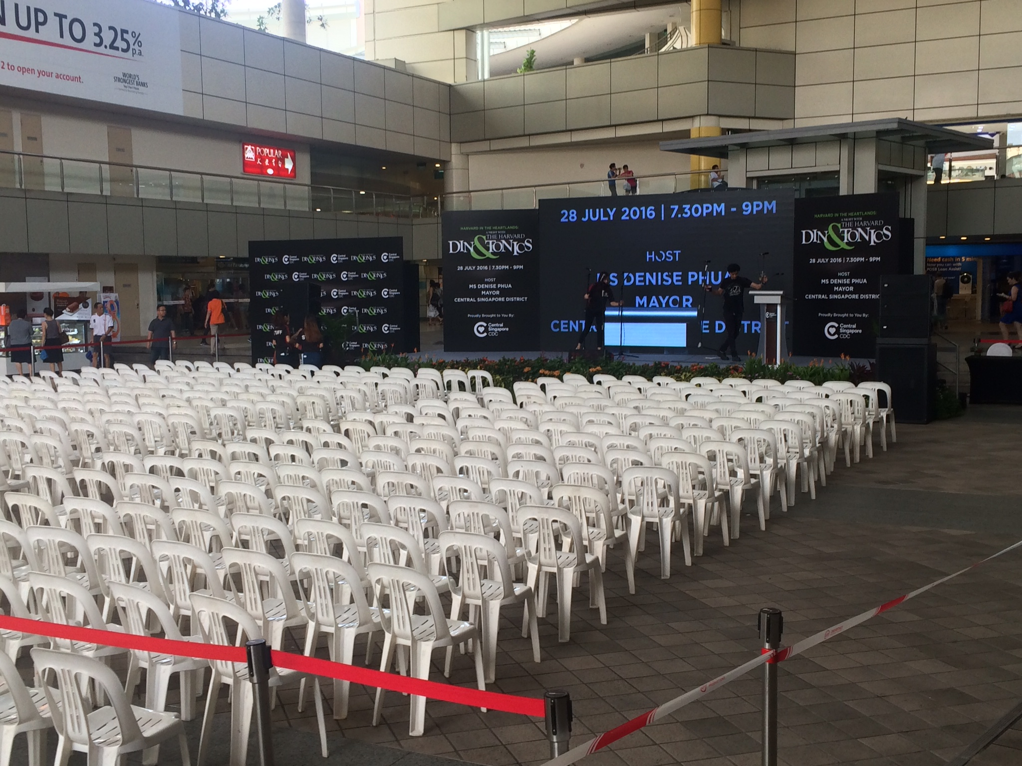 The stage set up for our very large gig at the Toa Payoh HDB Hub (a few seats filled up after this, we swear!)