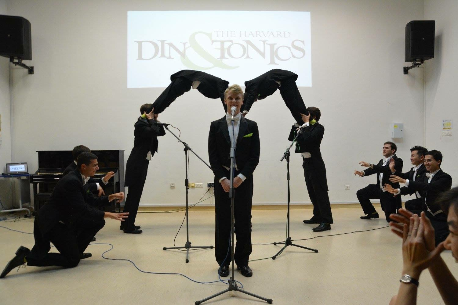 "Forming our infamous ""McDonalds Girl"" arch at one of our junior college performances"