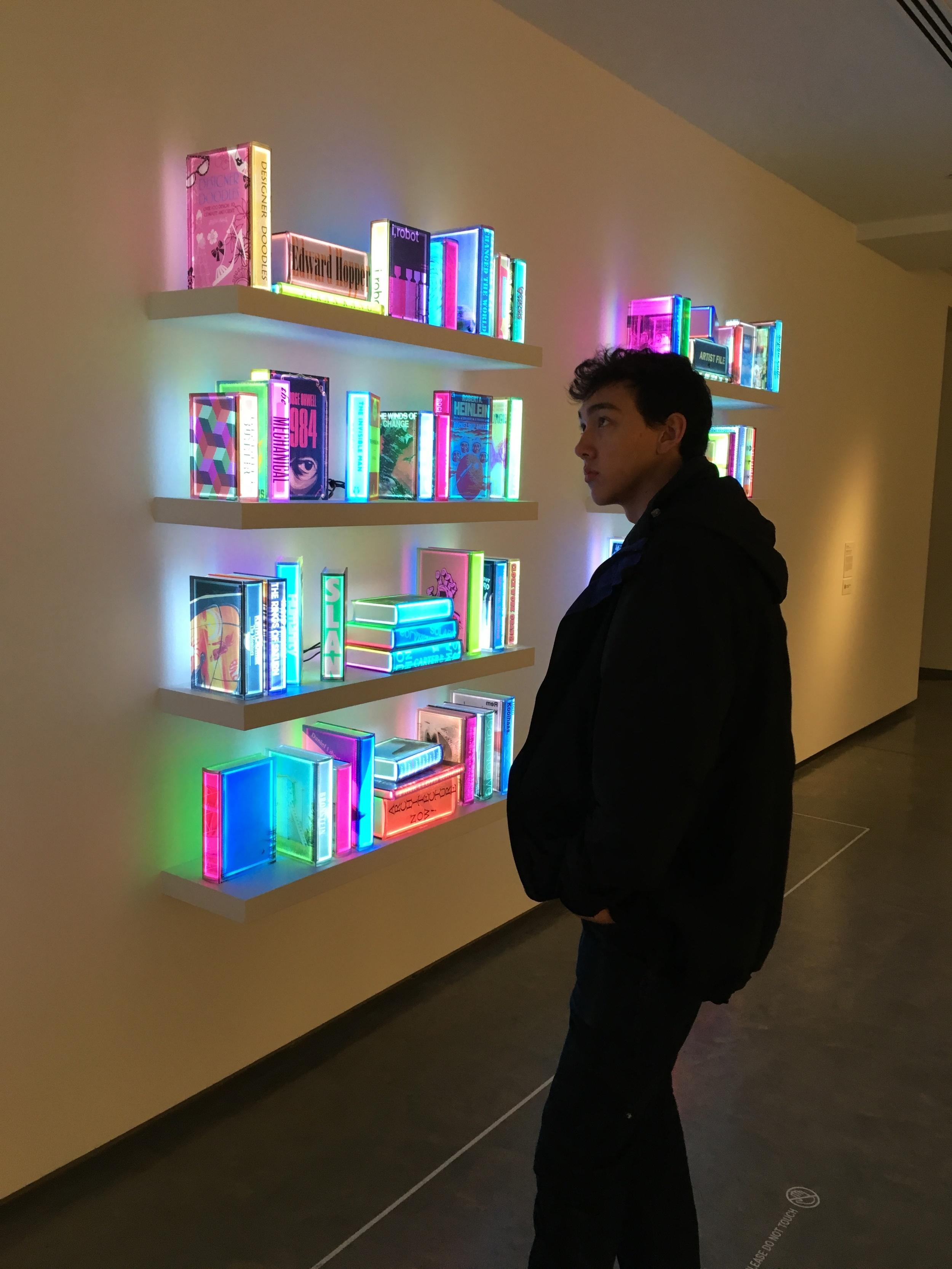 Danny basking in the glow of modern art