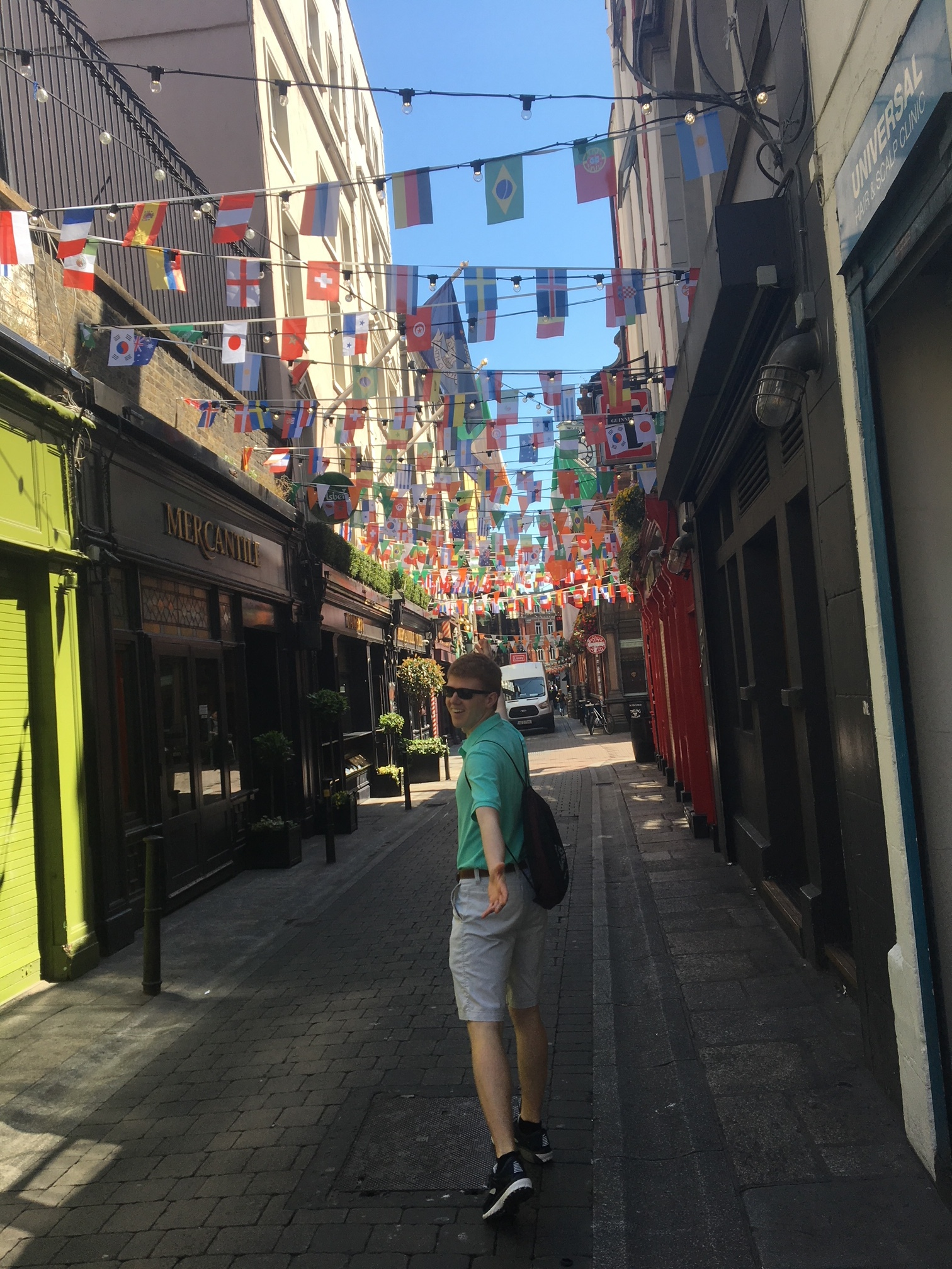 A fun, pub-filled street in Dublin with an even fun-er Music Director.  Photo by Sam Rosner #245