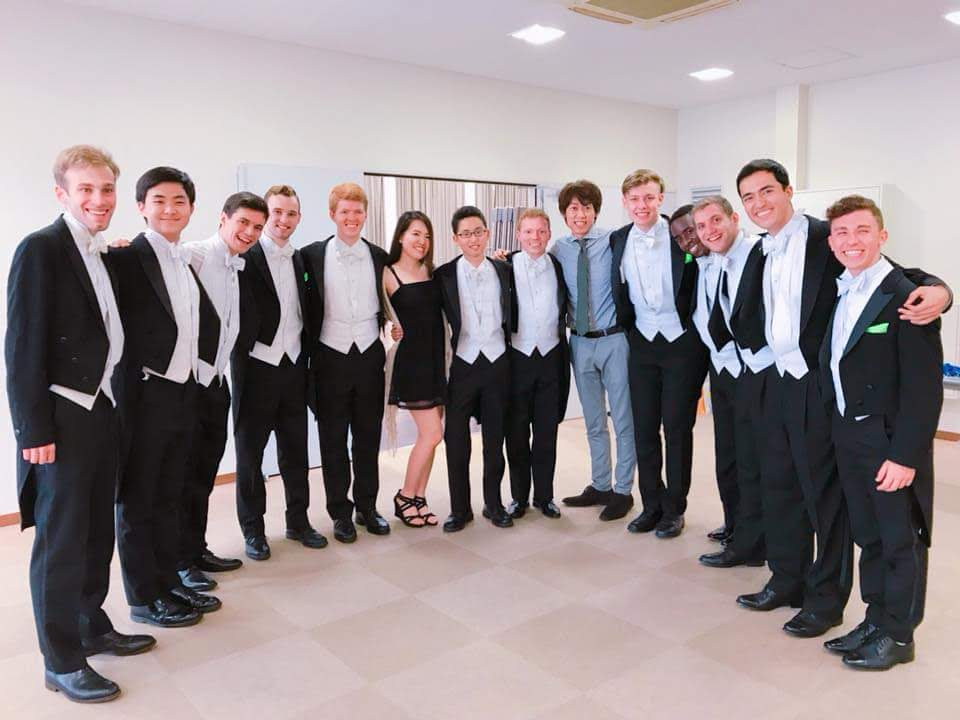 All of the Dins together with our amazing friends and hosts after our final performance in Japan.
