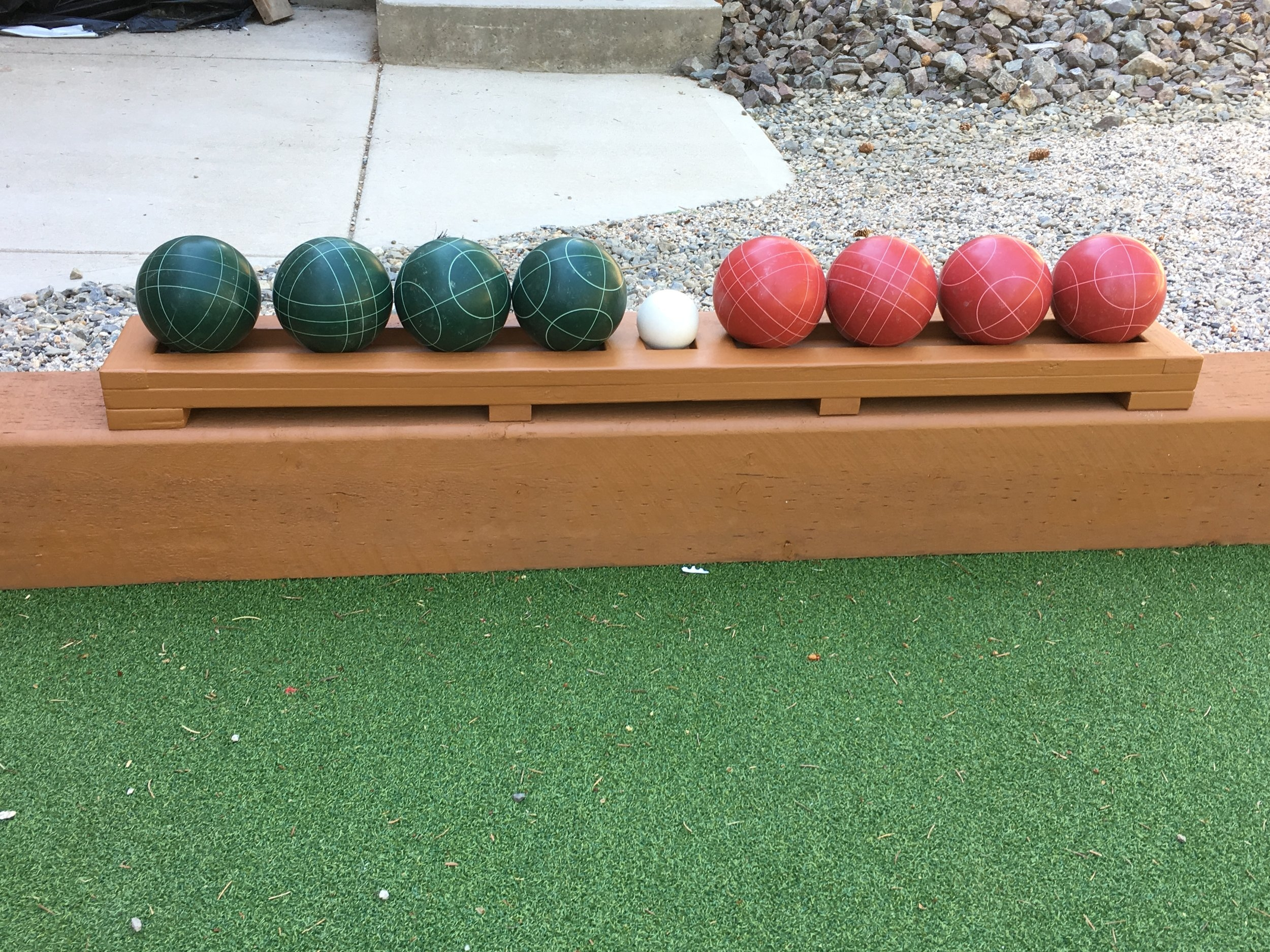 """Our regulation Italian Bocce balls with the white """"jack"""" or """"pallino"""" in the centre. For basic bocce rules click    here."""