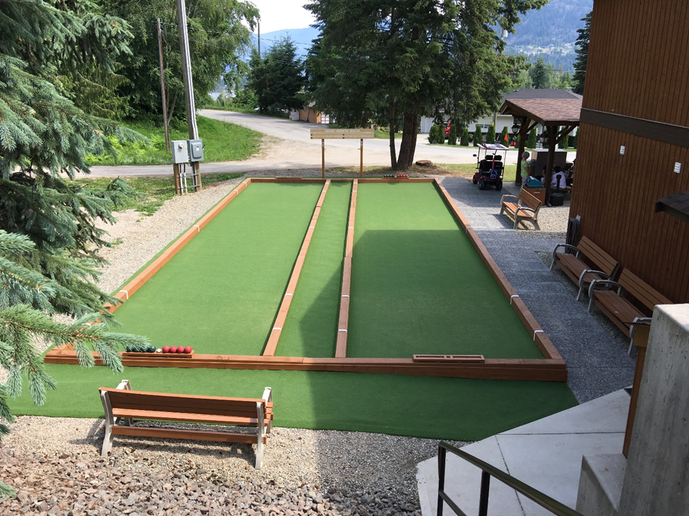 Our Bocce courts with new benches and paving stones added in 2018