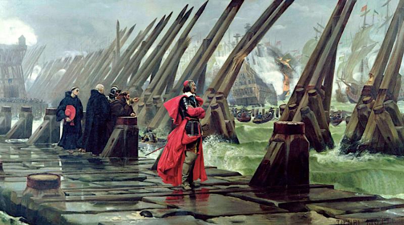 Cardinal Richelieu at the siege of La Rochelle, Henri-Paul Motte