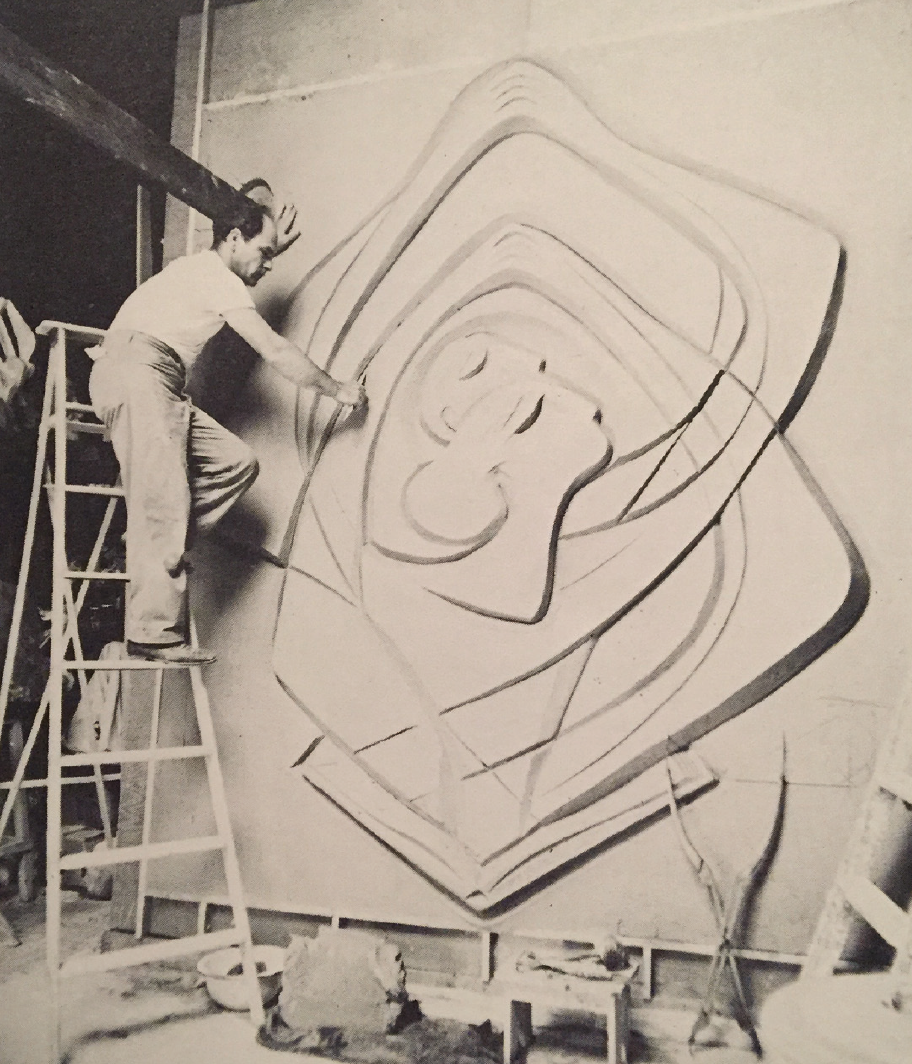 Charles Umlauf at work on  Prayer , bas relief, 10' high, 9' long.            Source |Gibson A. Danes,  The Sculpture and Drawing of Charles Umlauf  (Austin: University of Texas Press, 1980): 29.