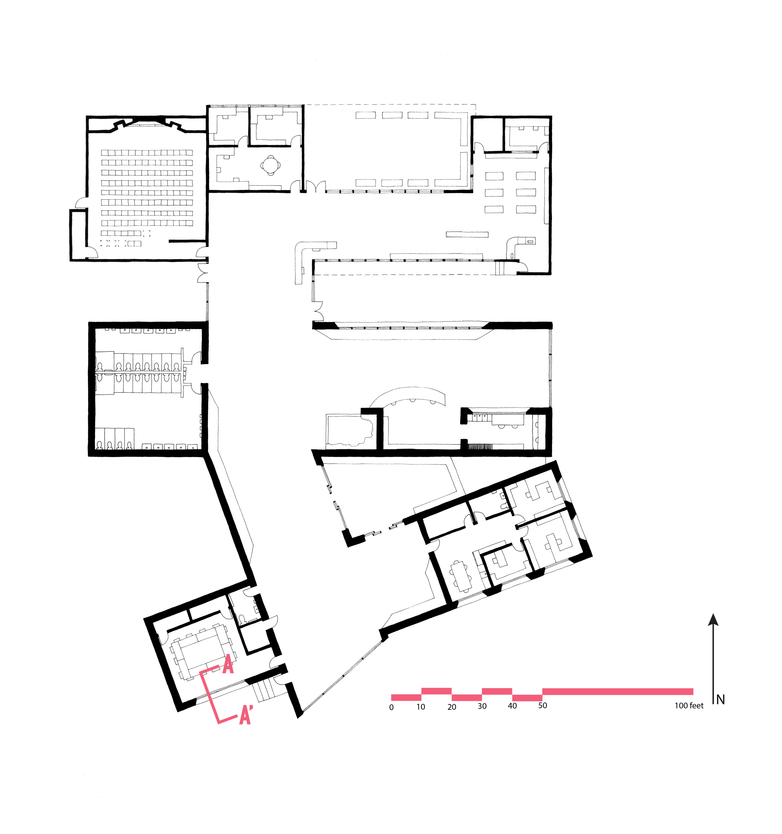 Floor plan of proposed rehabilitation and addition of the Ben Reifel Visitor Center in Cedar Pass at Badlands National Park. The proposed addition is of rammed earth construction. Pen on vellum.