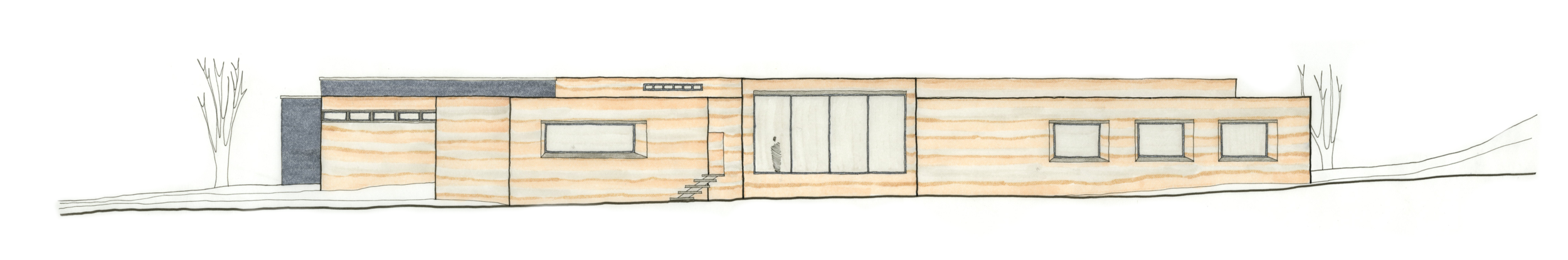 South elevation of proposed rammed earth addition.