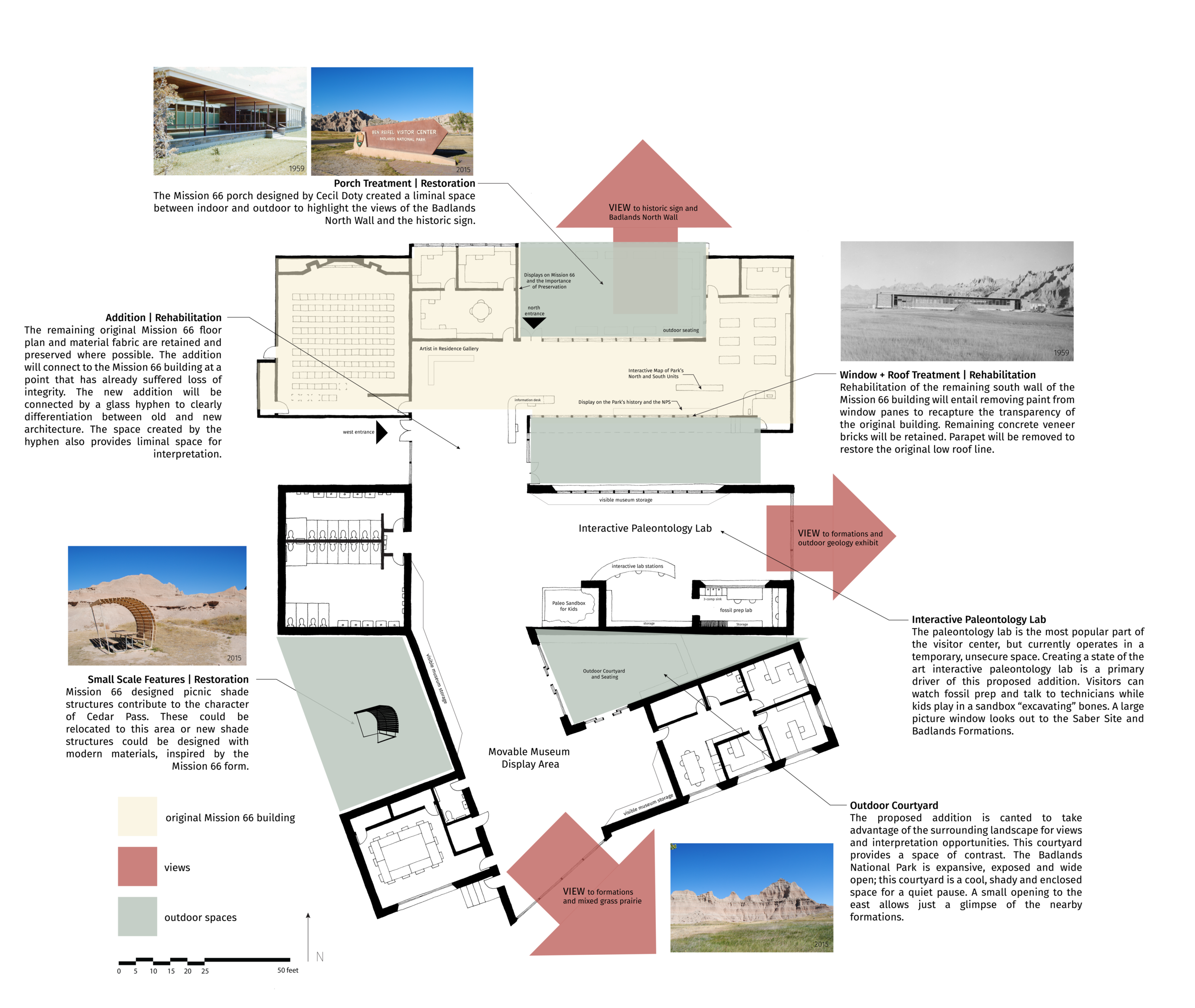 Scheme of proposed rehabilitation and addition to the Ben Reifel Visitor Center. Plan emphasis the retention of original material features, reconnecting to the landscape, and a new Paleontology Lab for visitors.