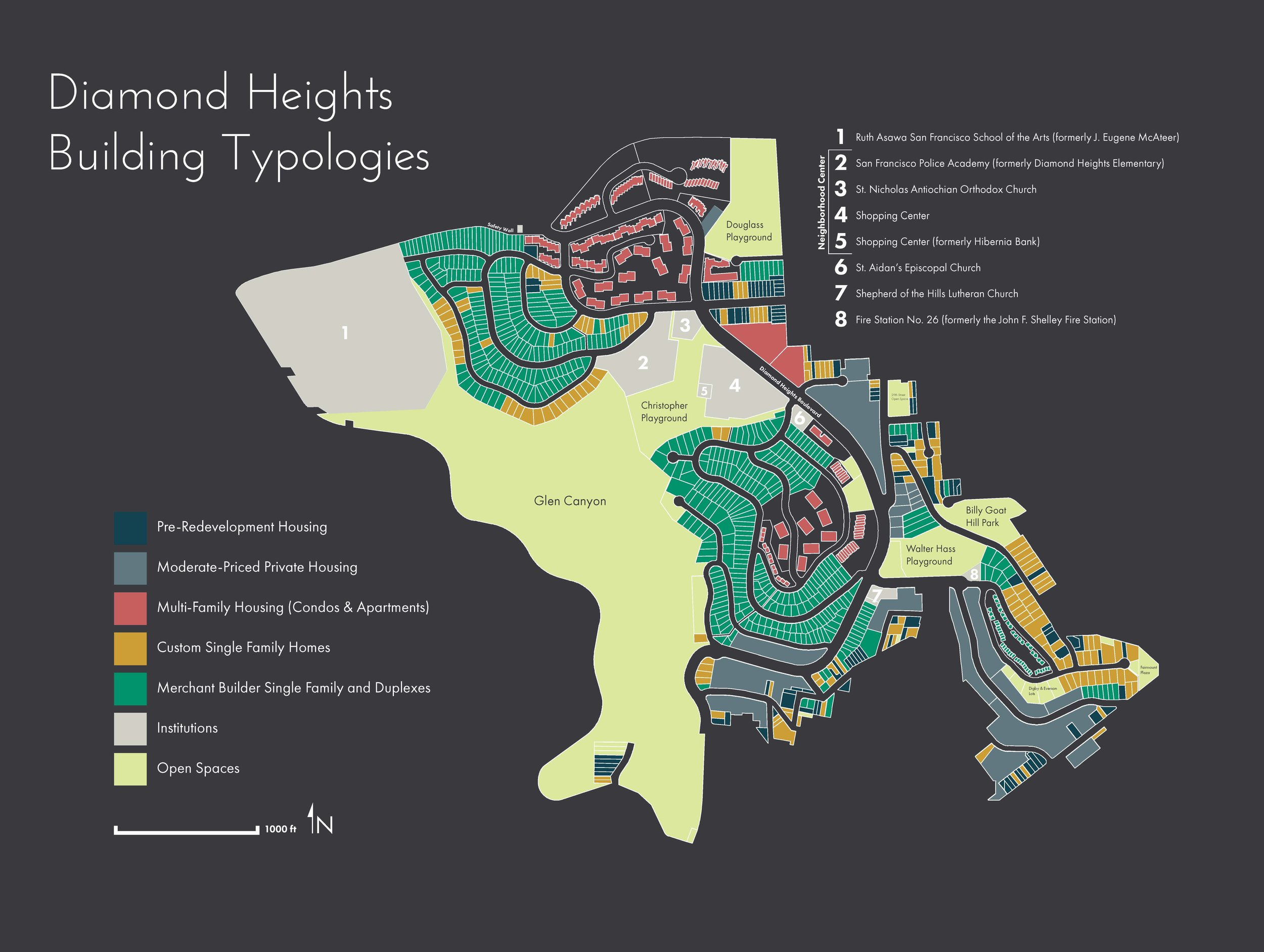 By the official end of the Redevelopment Agency project in 1979, the population in Diamond Heights had increased from 374 to 7,300 and 2,265 new housing units had been built in the 325 acre project area. [Map by Hannah Simonson]