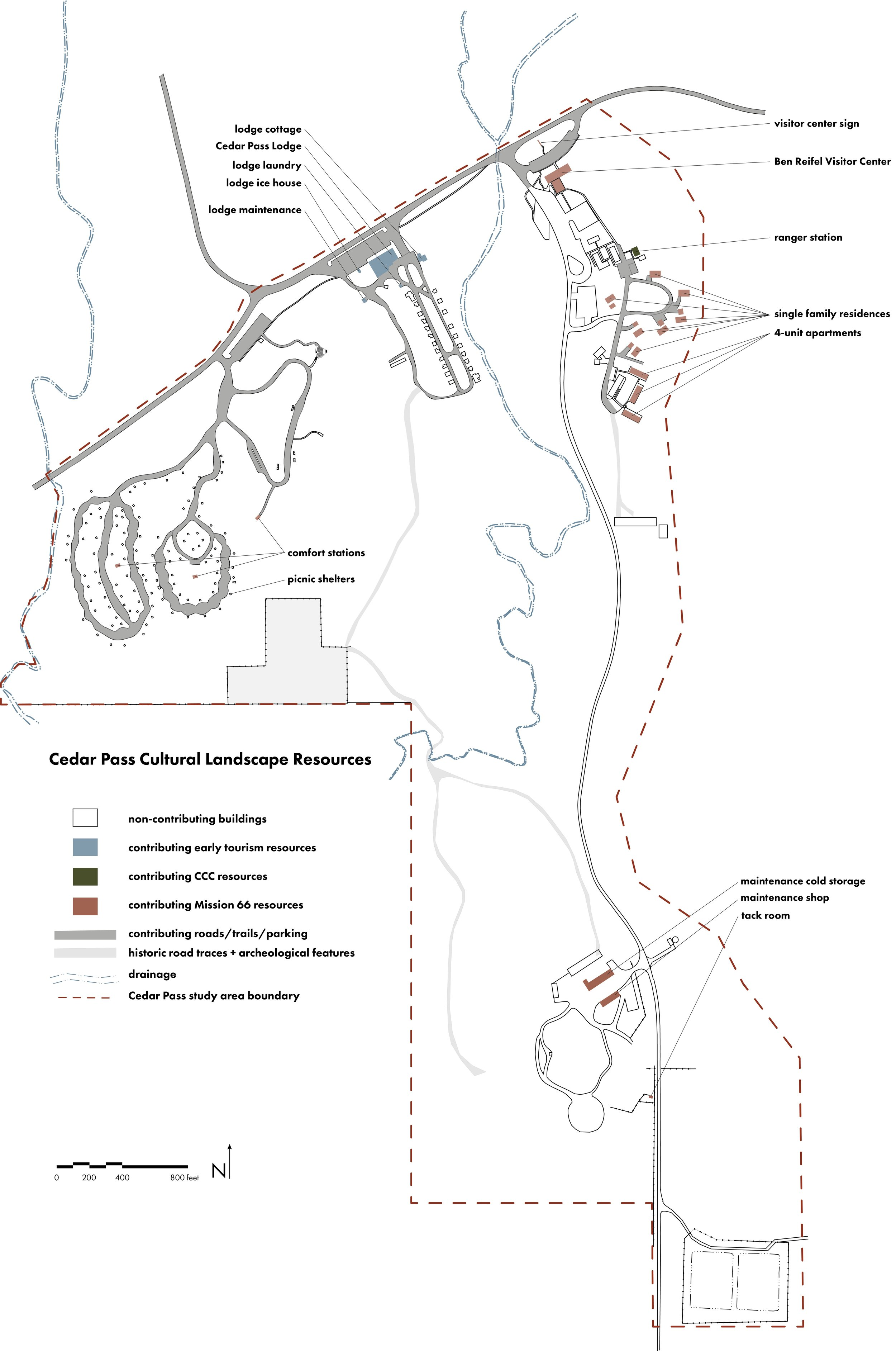 Map of cultural landscape resources in Cedar Pass by development phase: Early Tourism (1909-1938), CCC-era (1938-1942), and Mission 66 (1956-1966).