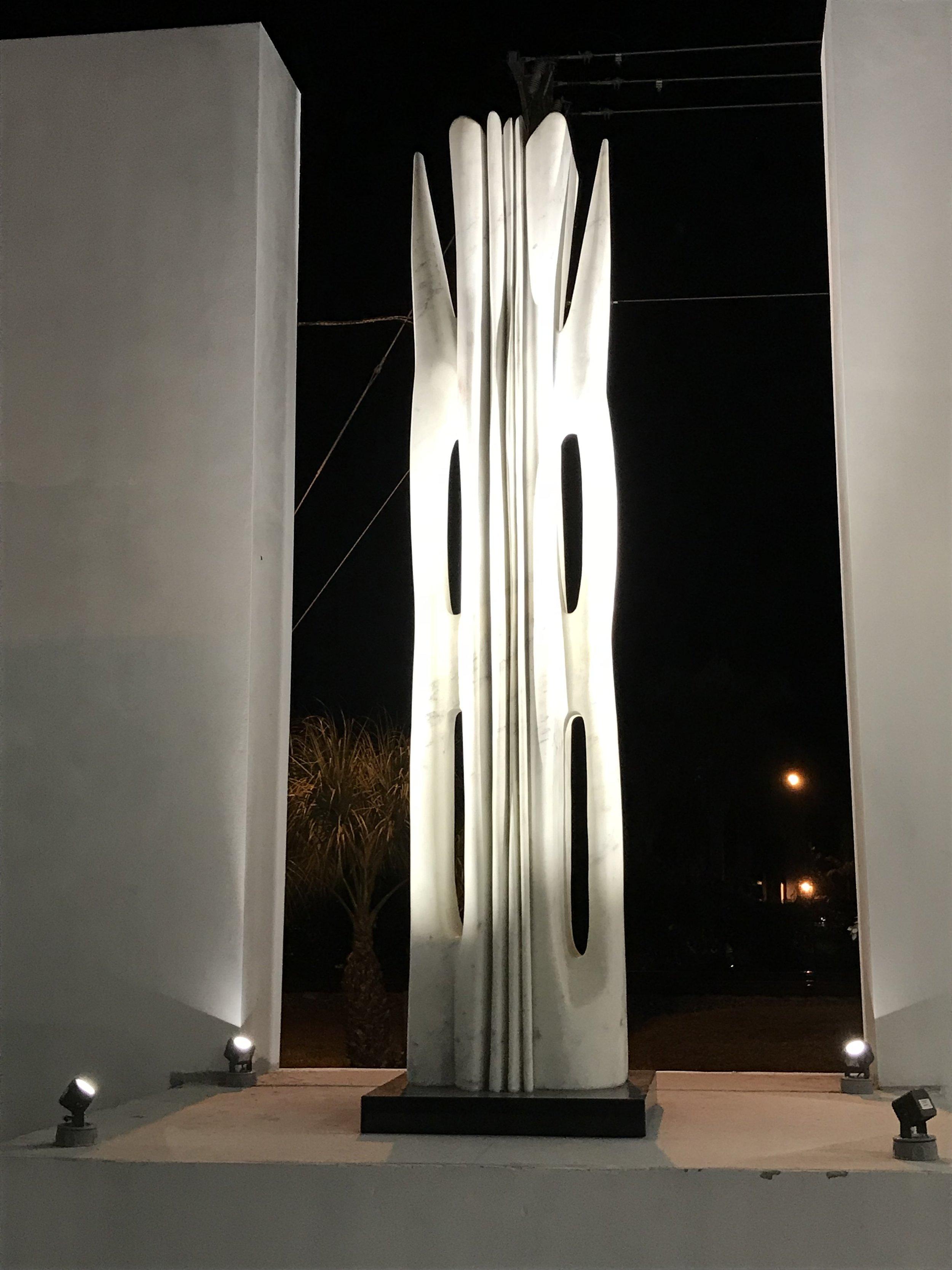 Atchugarry Art Center in North Miami. Outdoor sculpture illuminated by Targetti's new DART Medium spot light.