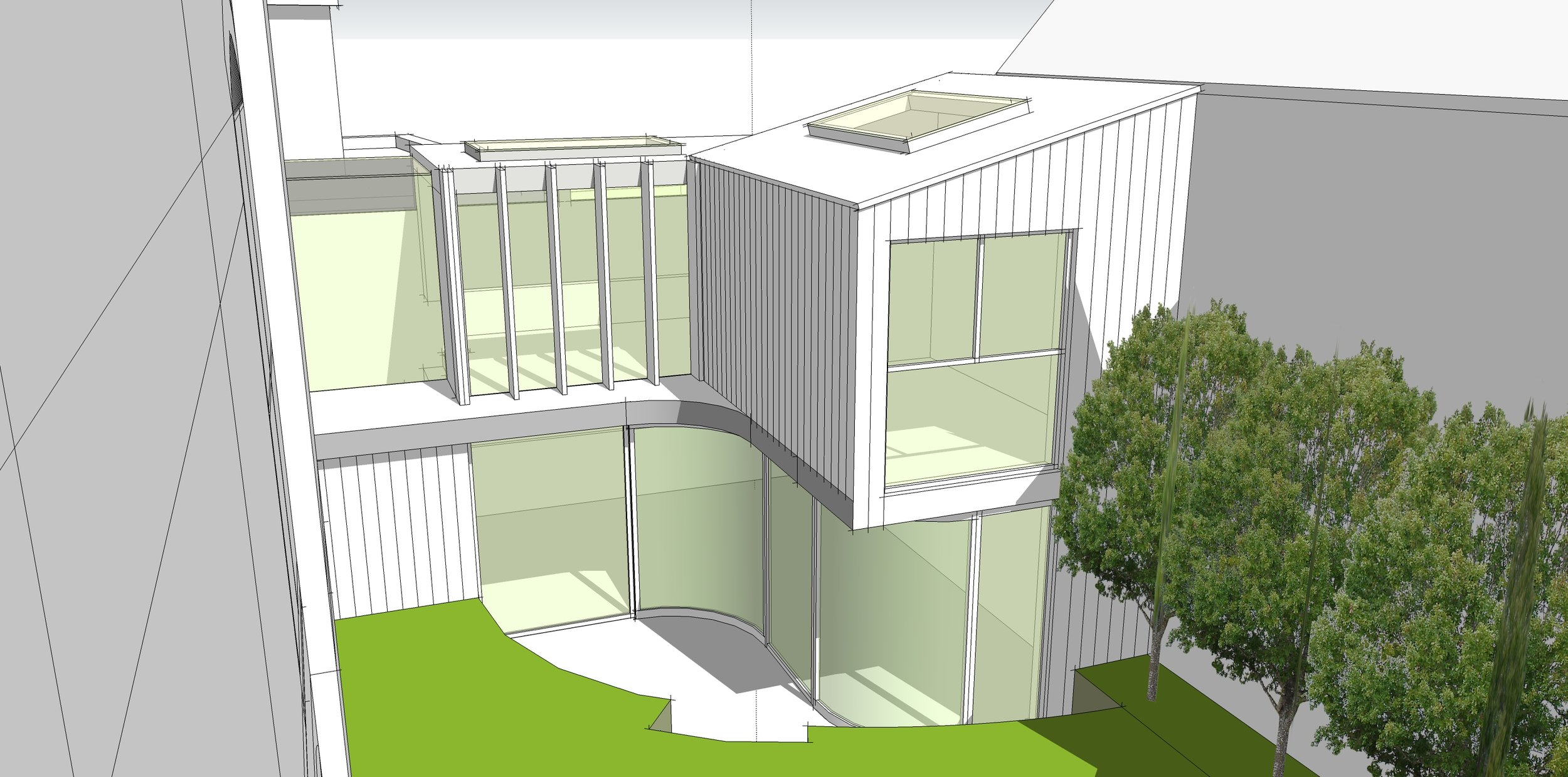 3D Concept model to accompany a planning application for a two-storey extension in West Wimbledon Conservation Area