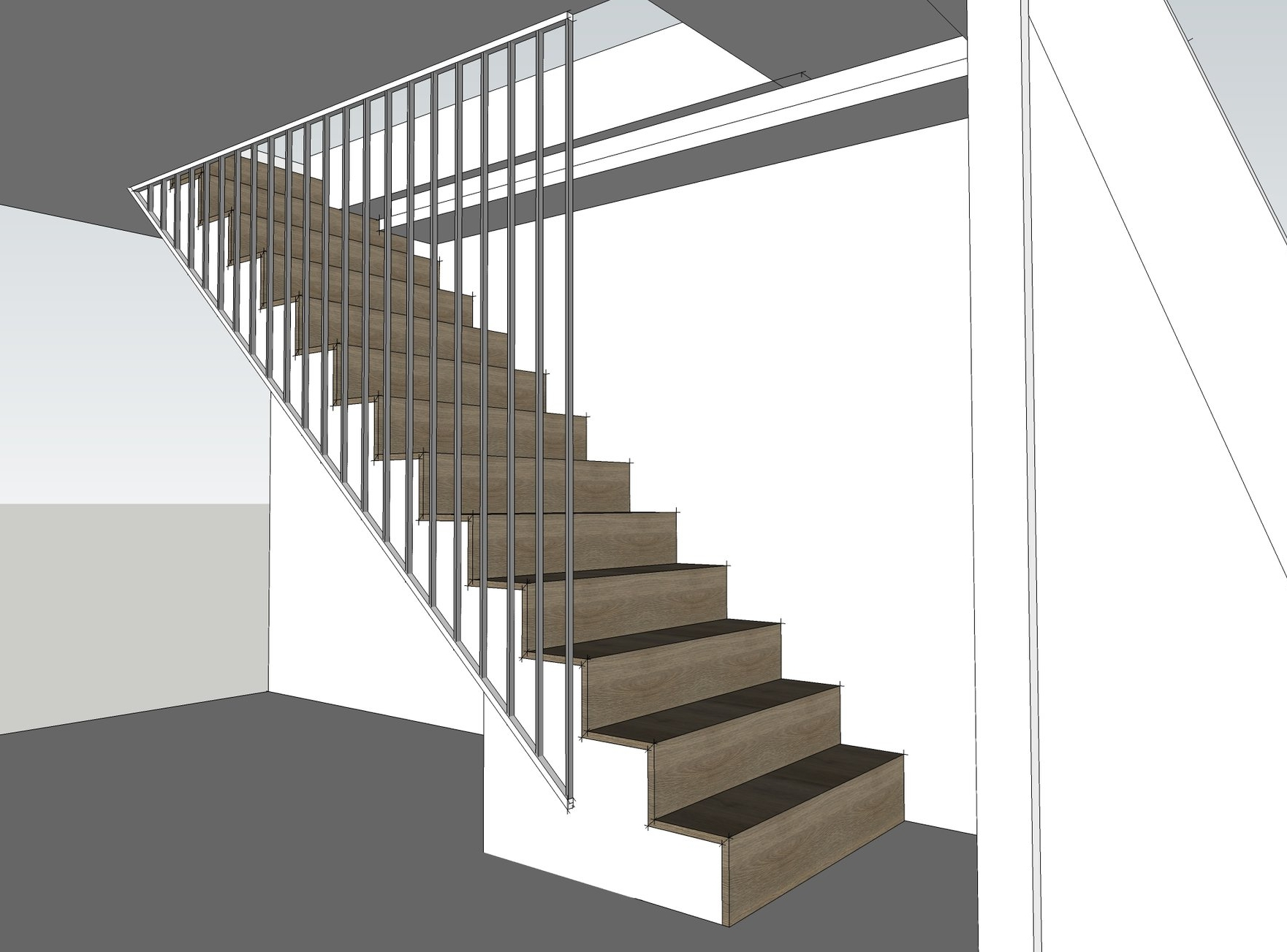 Custom staircase design - clad in timber with metal balustrading