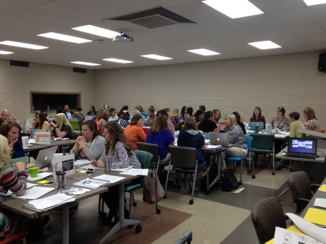 All Dyer County Teams work together on RTI2-B Products during Day 2 Training session.