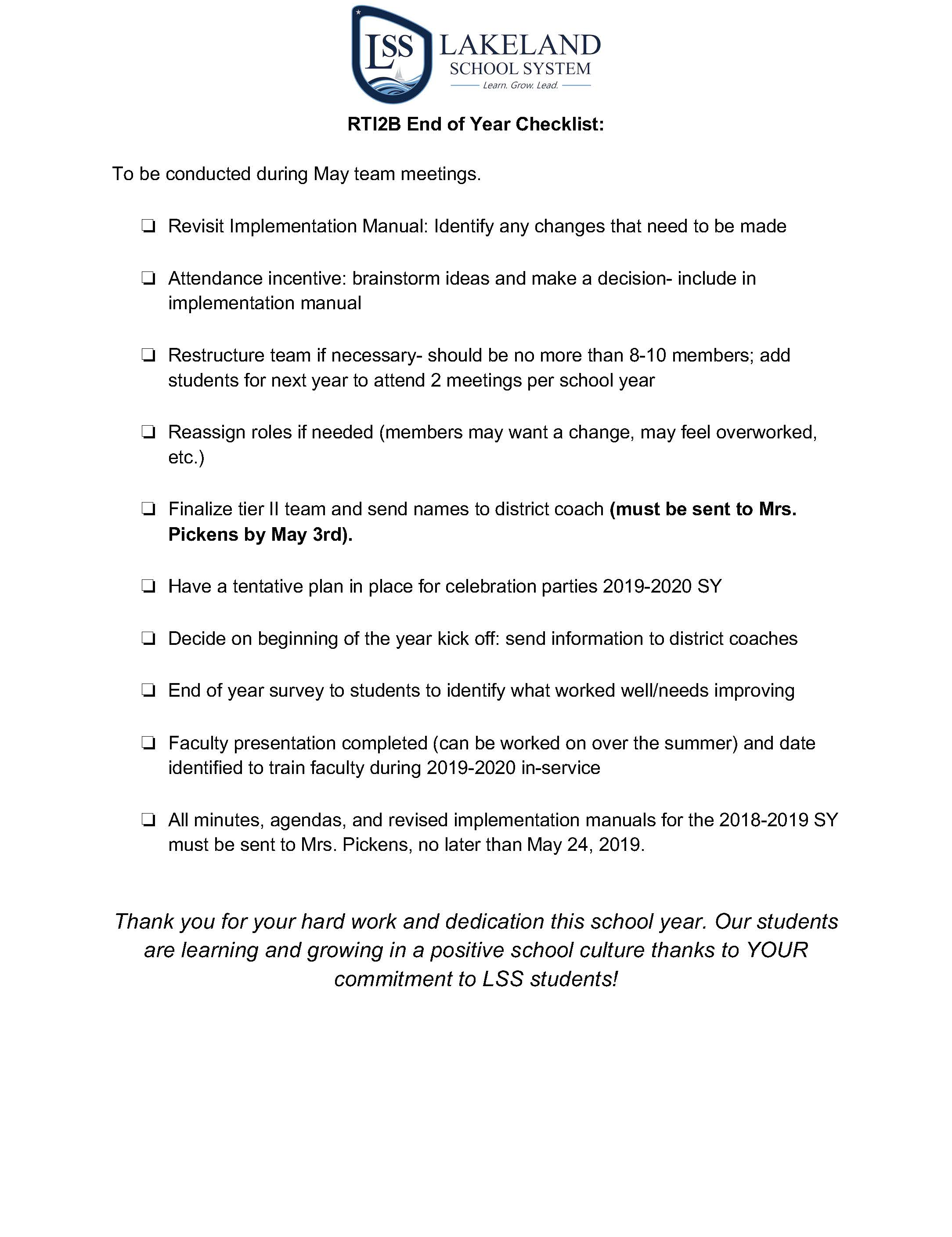 Lakeland School System's End of Year Checklist for RTI2-B. Click on the image to download an editable word document file.