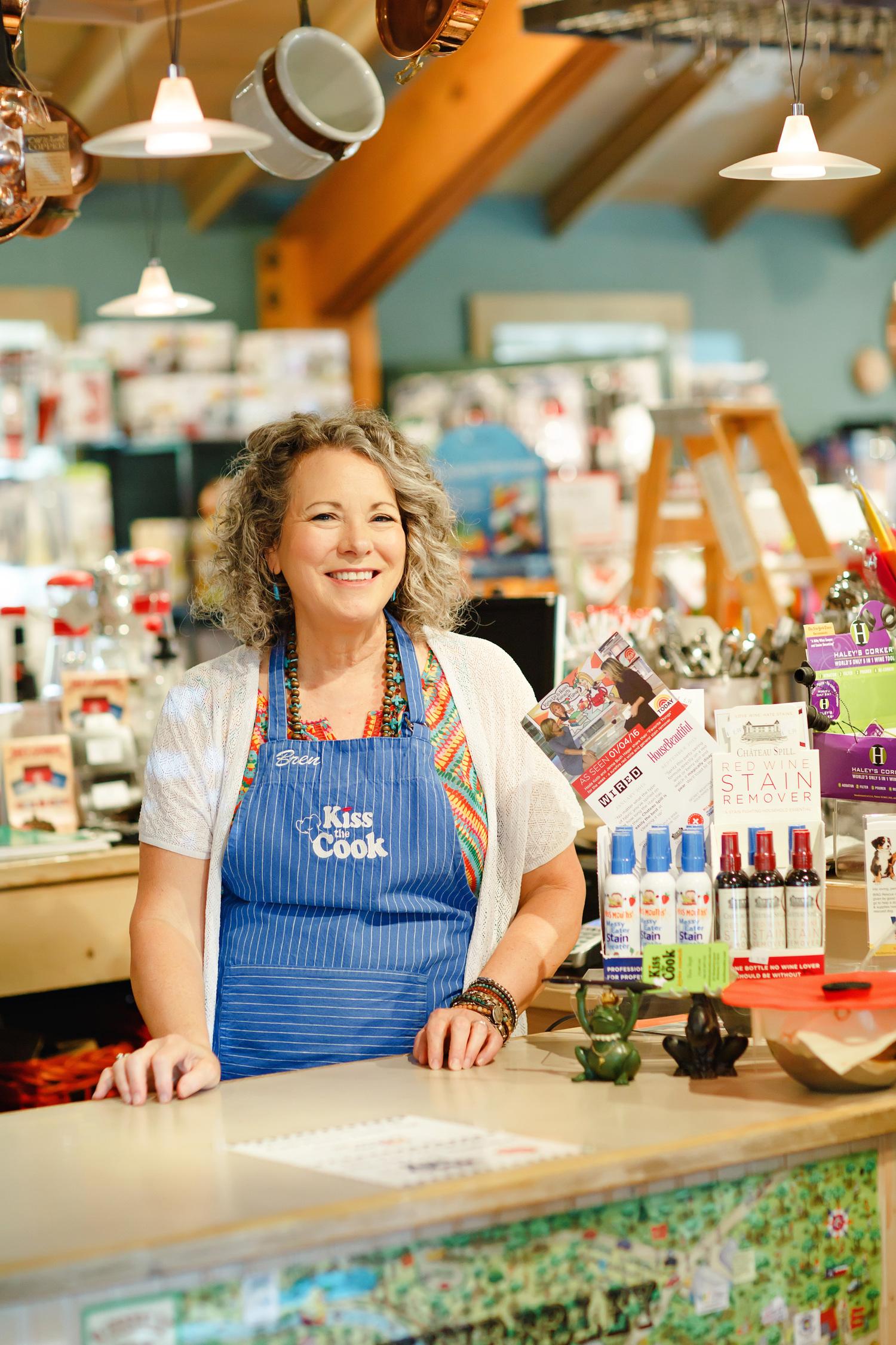 Bren Isgitt,owner Kiss the Cook in Wimberley, Texas.  Photo credit Lauren Clark .