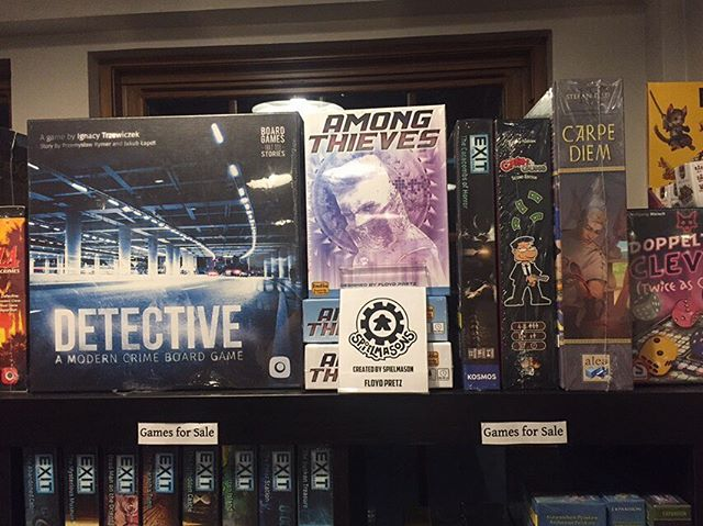 Today we are lucky enough to have 2 free to attend demos by the designers of the games themselves!! At noon, Floyd Pretz will be demoing his heist game, Among Thieves! We now carry this game in our retail section if you want to pick up a signed copy after you play. 😉  At 6, Trevor Rau will be demoing his game Beyond the Stars! It is a quick card drafting game for 3-4 players.  #Spielmasons #boardgames @IBCGames @floydpretz @FireMindTrevor