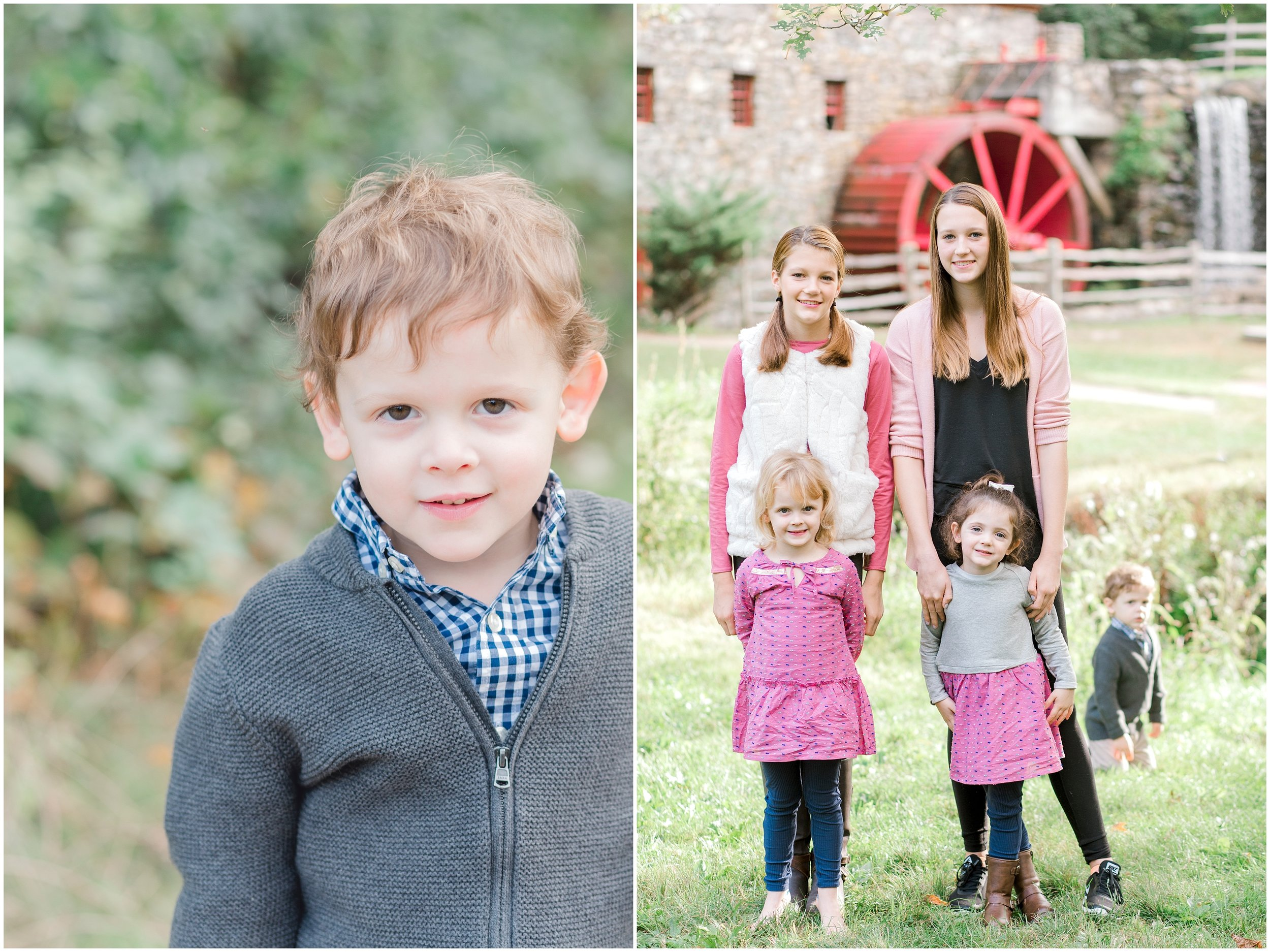 Sudbury grist mill fall family photos siblings