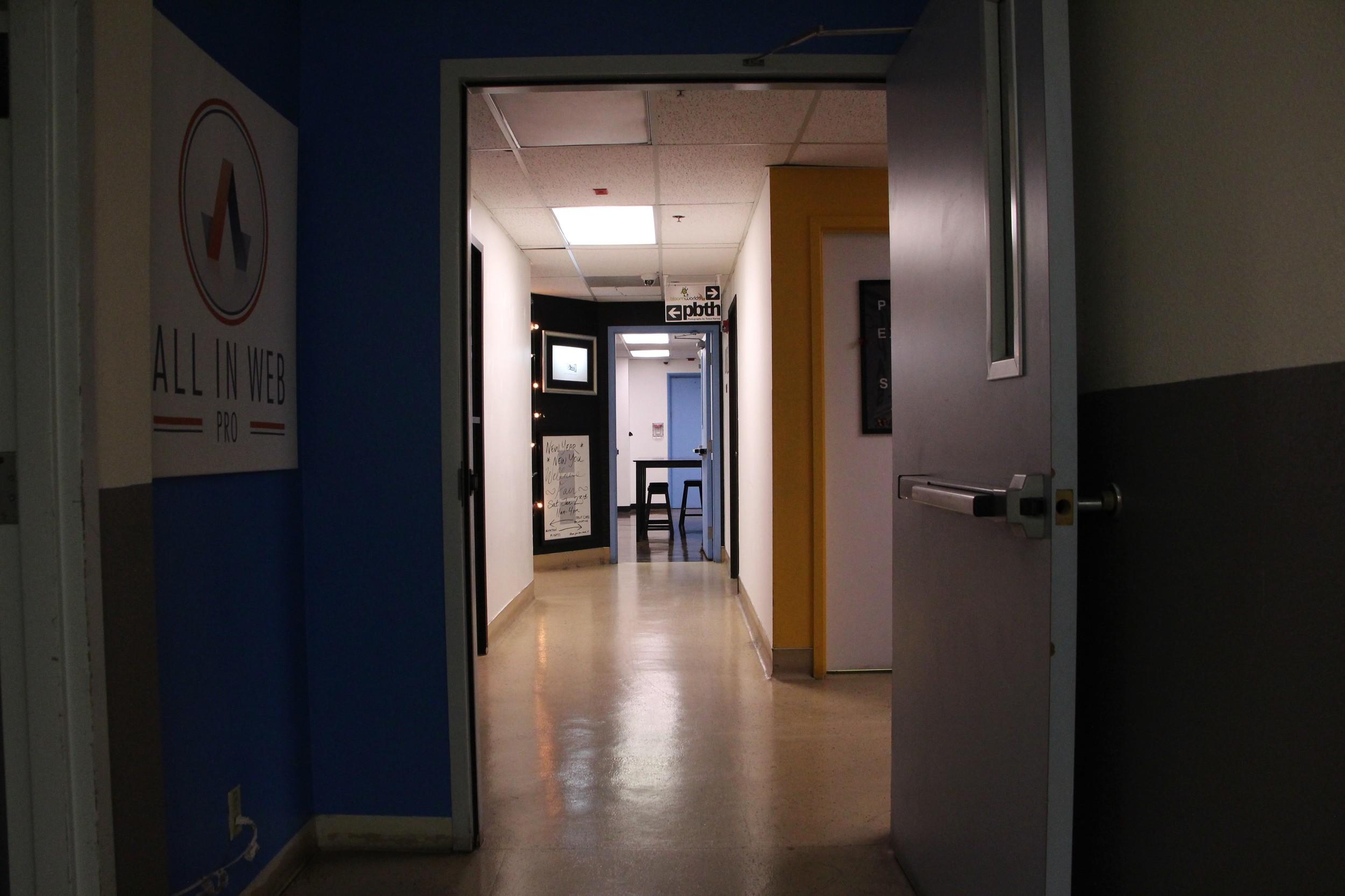 Upstairs hallway of Emergency Arts in