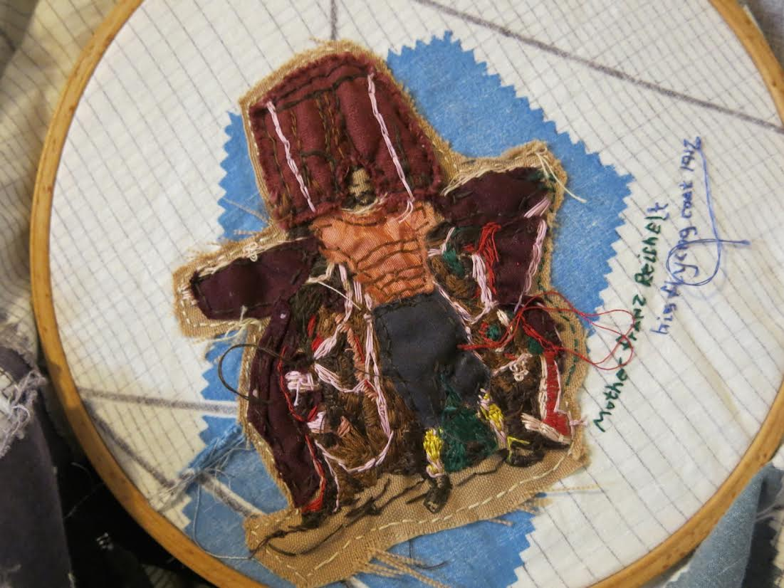 "Skirt of Mothers (Franz Reichelt Patch), Fabric and Thread, 5""x4"", 2014"
