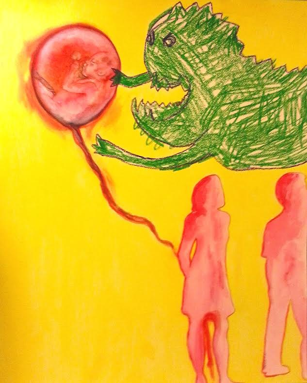Motherless/Fatherless #1, acrylic and crayon on paper, 16×20, 2015