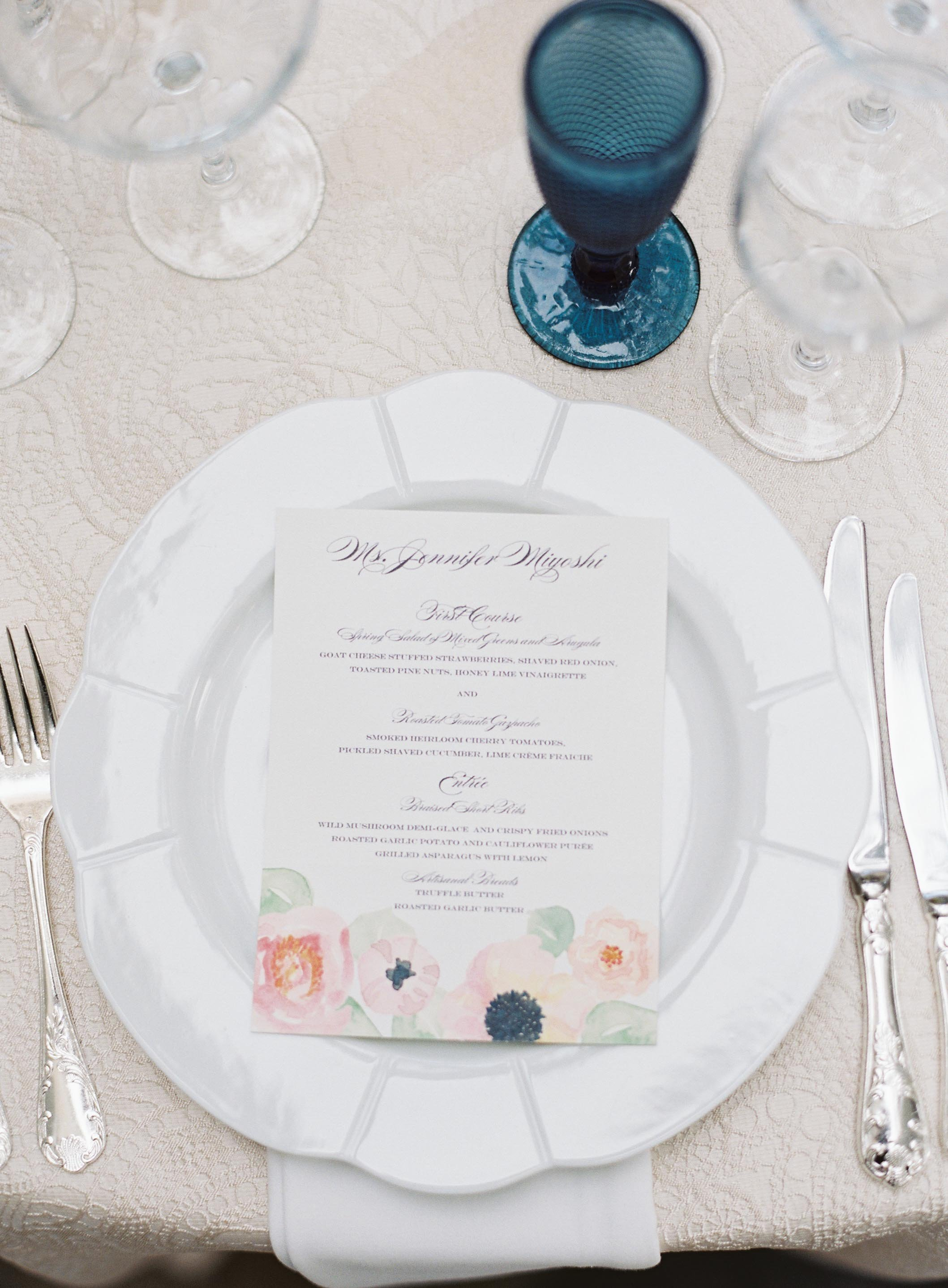 Watercolor Bouquet Suite Personalized Menus