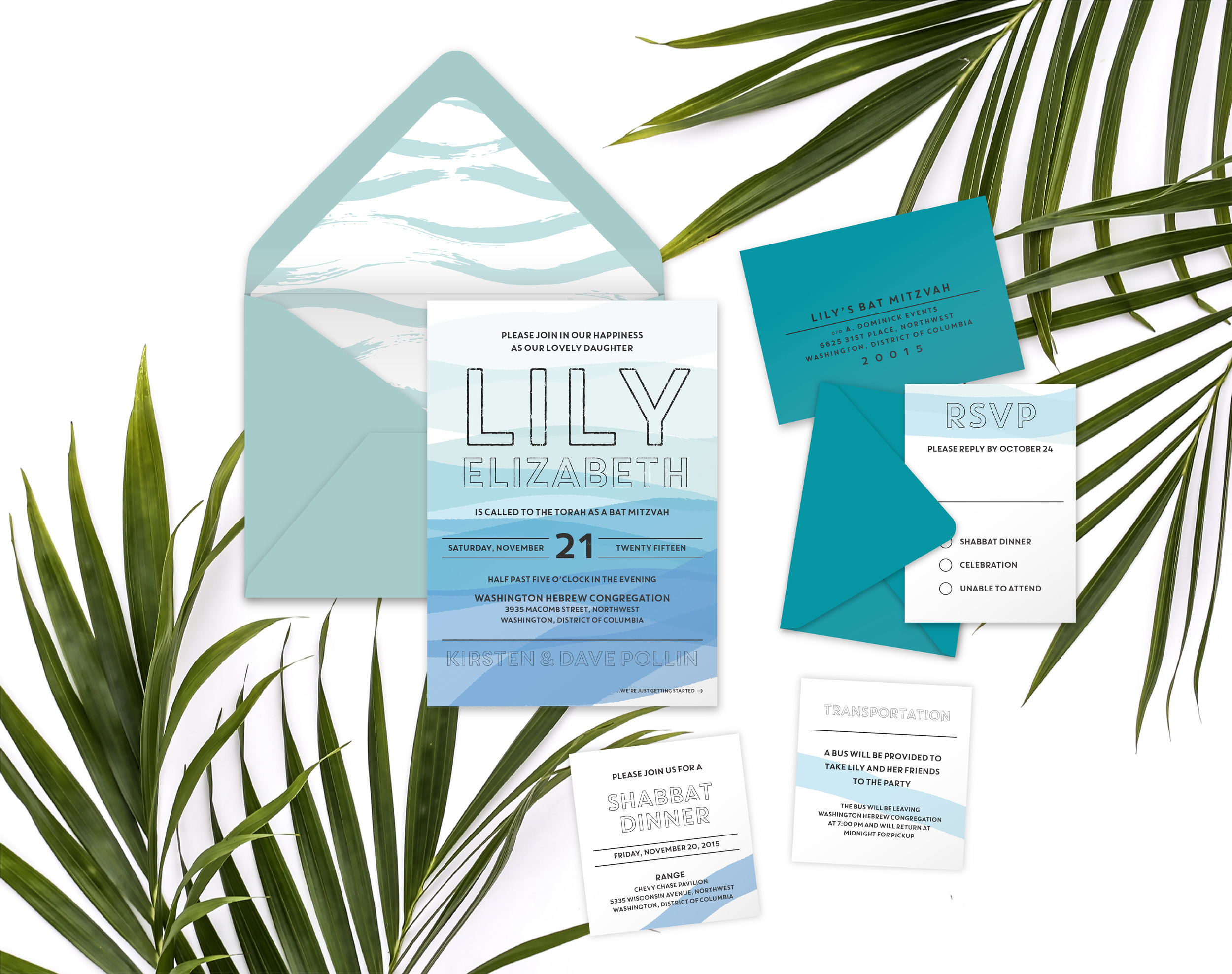 Beachy Chic Bat Mitzvah Invitation