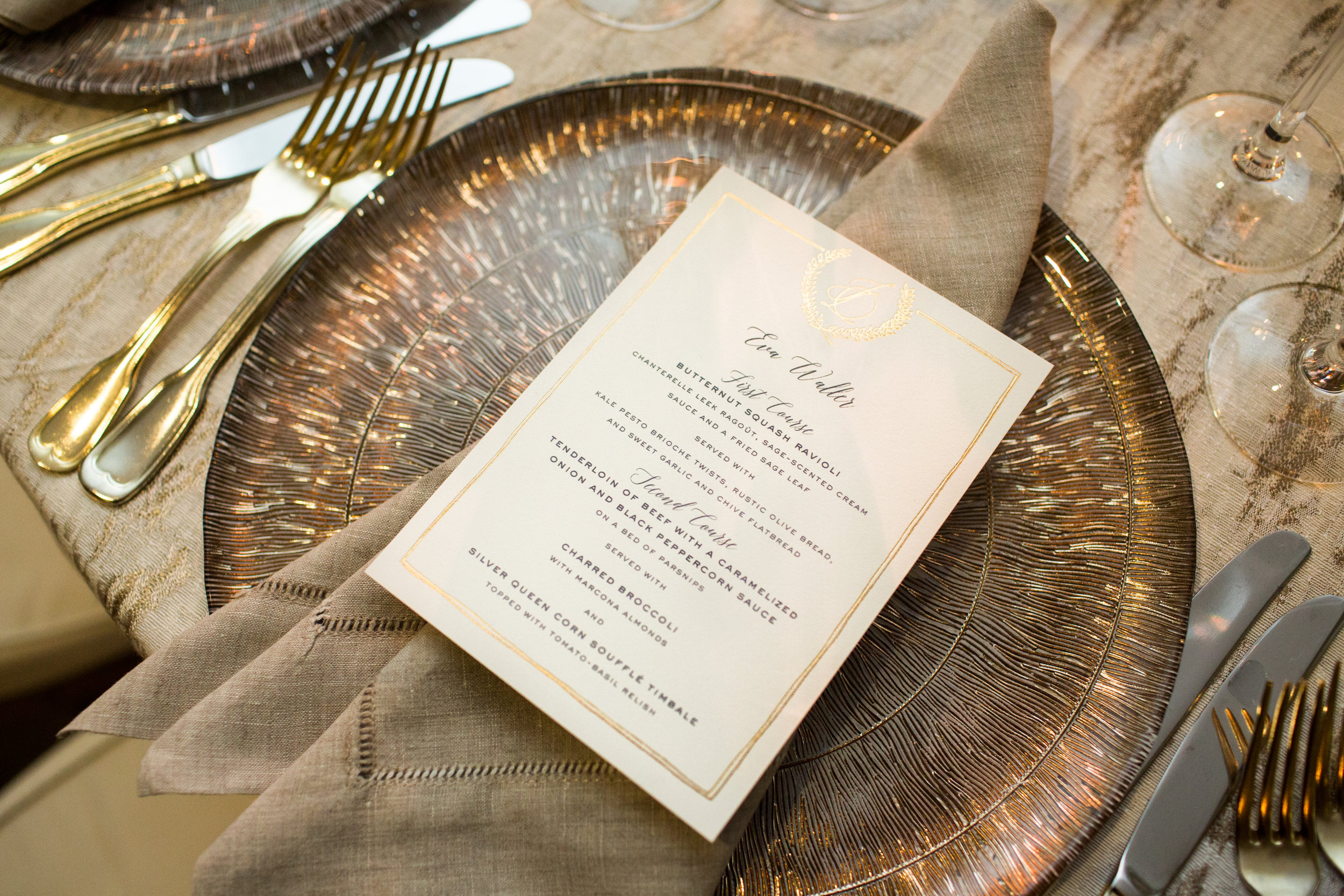 Secret Garden Suite Personalized Menu