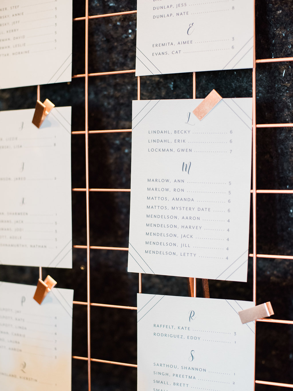 Geometric Navy Suite Escort Cards