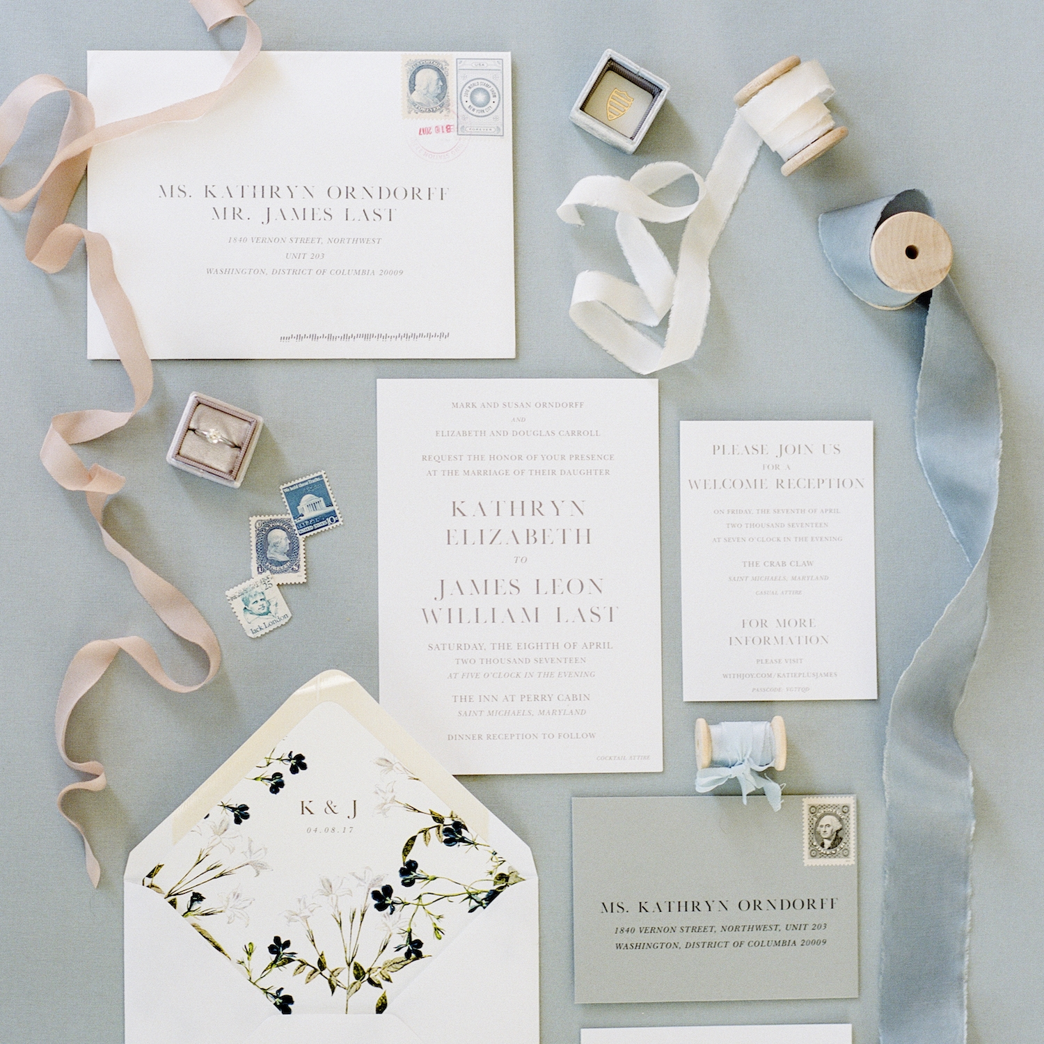 Washingtonian Bride & Groom    Katie & James' Waterfront Wedding invitations