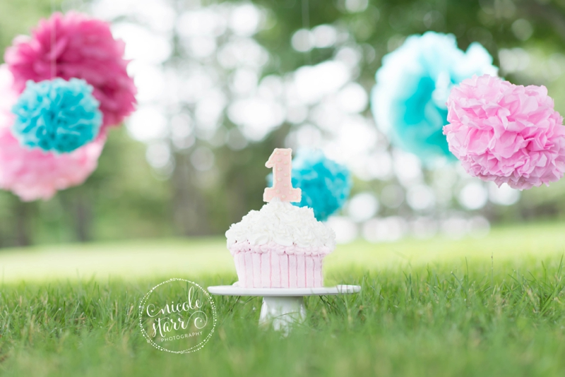 pink and teal cake smash baby birthday session boston_0001