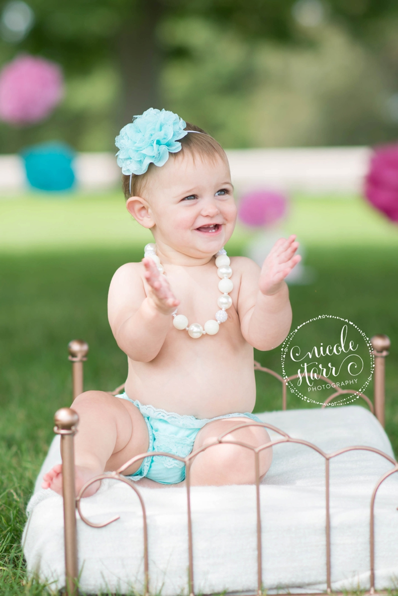 pink and teal cake smash baby birthday session boston_0004