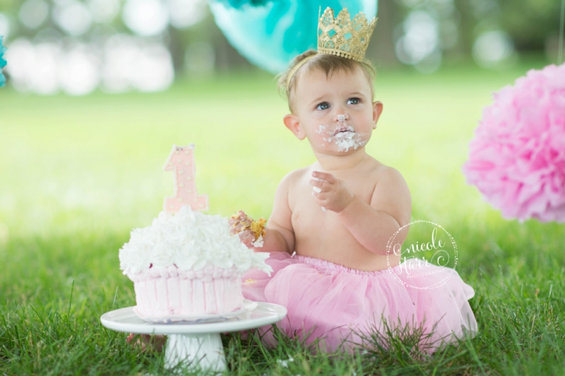 pink and teal cake smash baby birthday session boston_0010