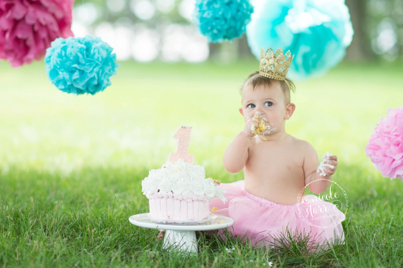 pink and teal cake smash baby birthday session boston_0011