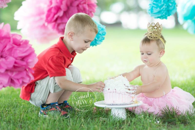 pink and teal cake smash baby birthday session boston_0012
