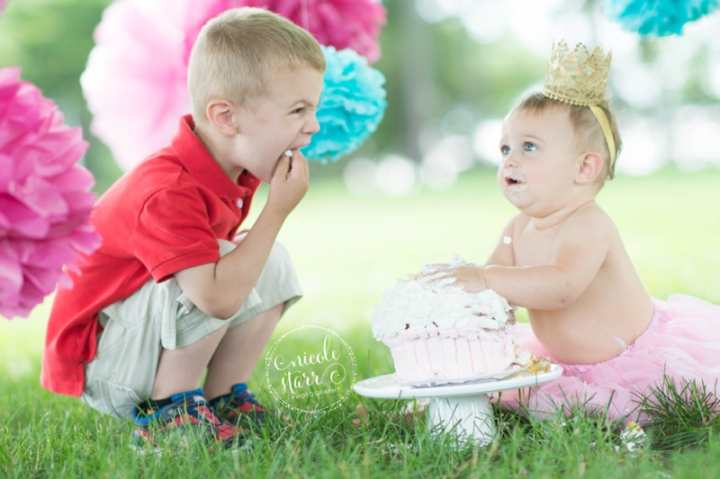 pink and teal cake smash baby birthday session boston_0013