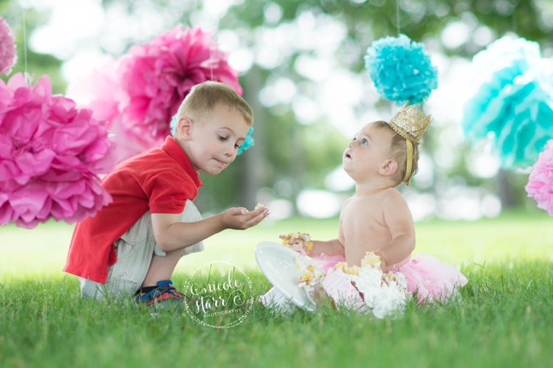pink and teal cake smash baby birthday session boston_0016