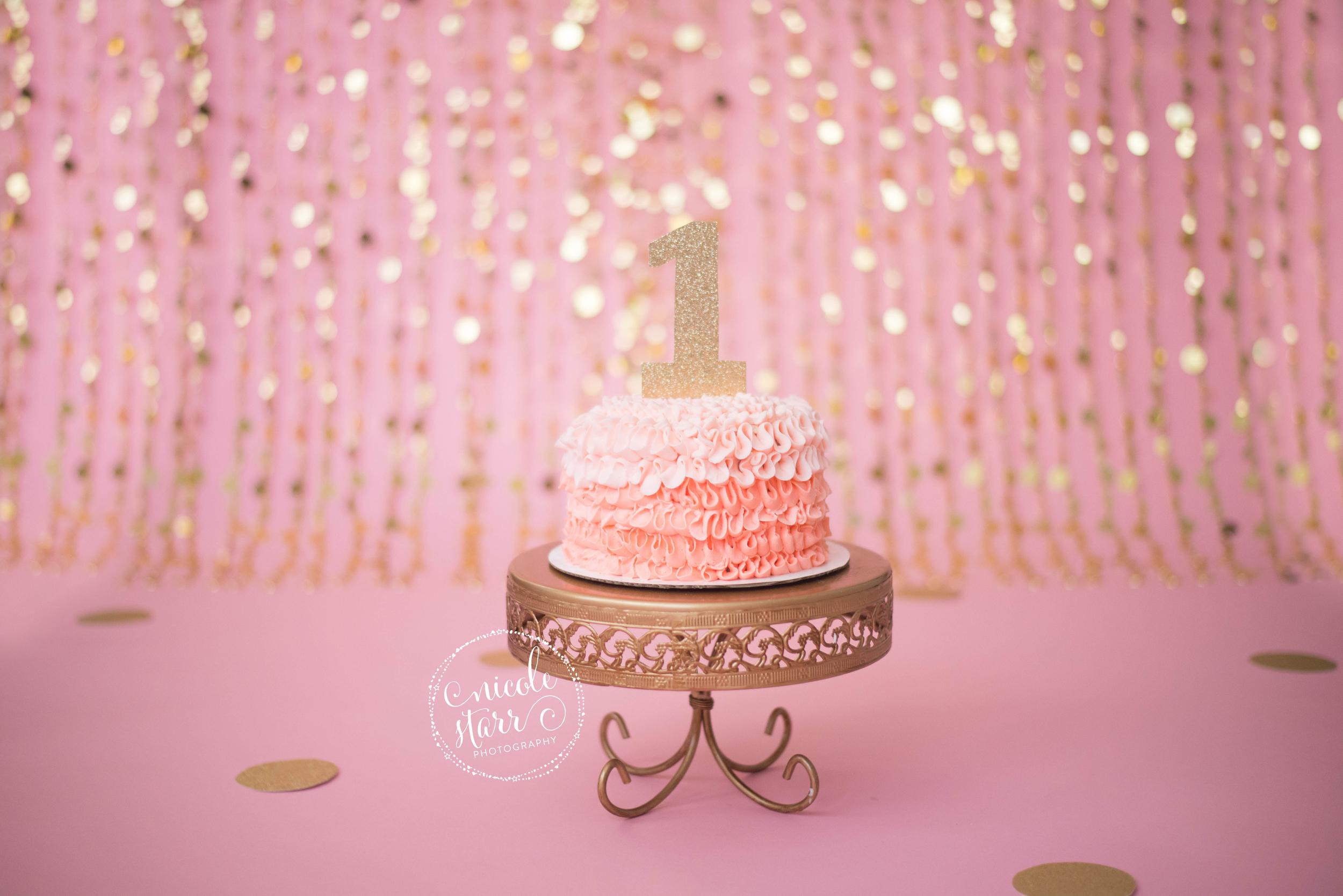 WM pink gold birthday cake smash set up