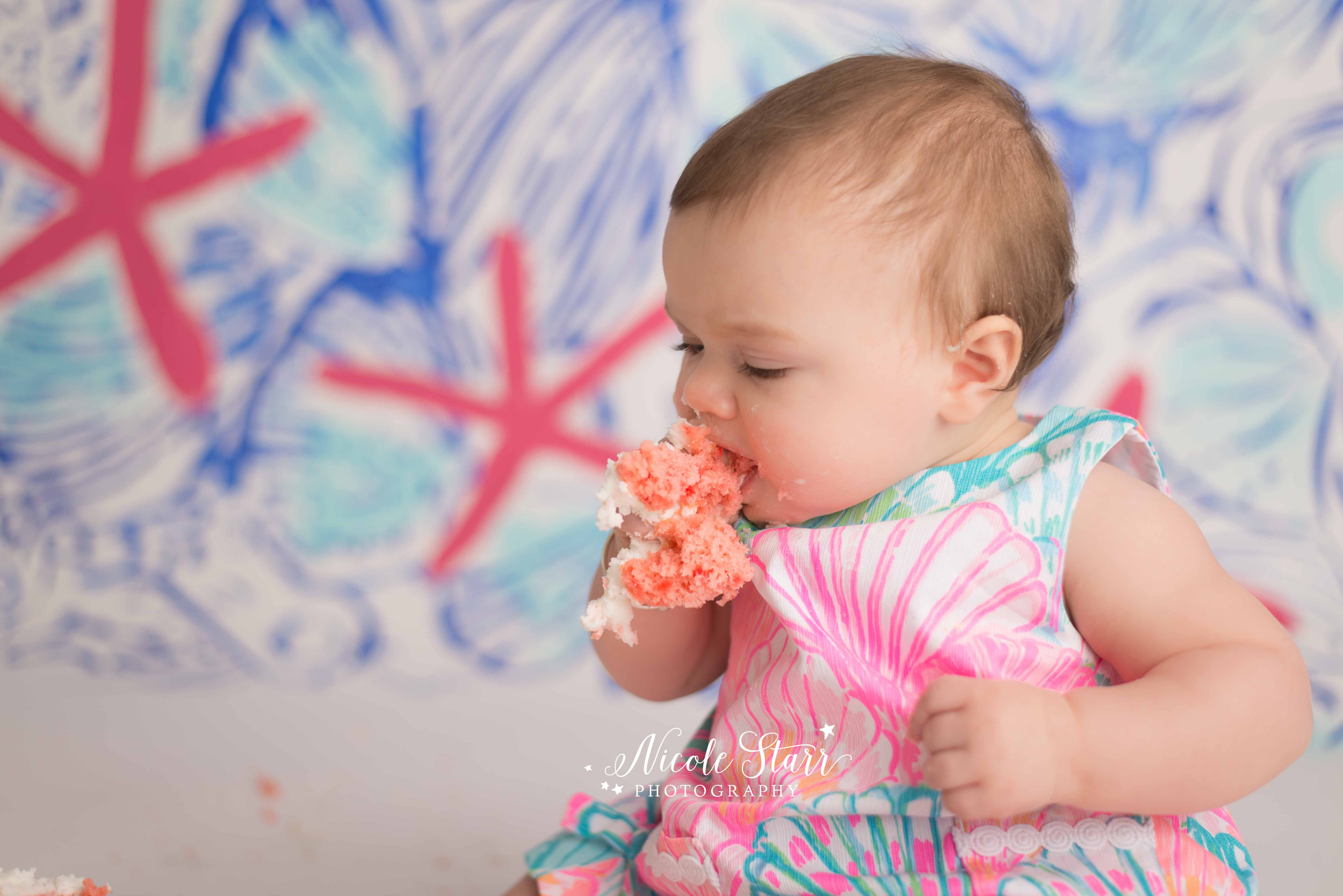 saratoga springs albany baby photographer lilly pulitzer birthday cake smash .jpg