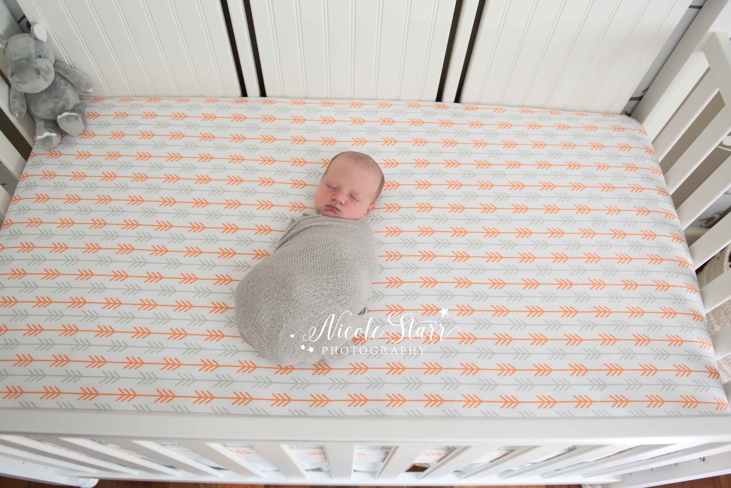 orange and gray newborn crib sheets