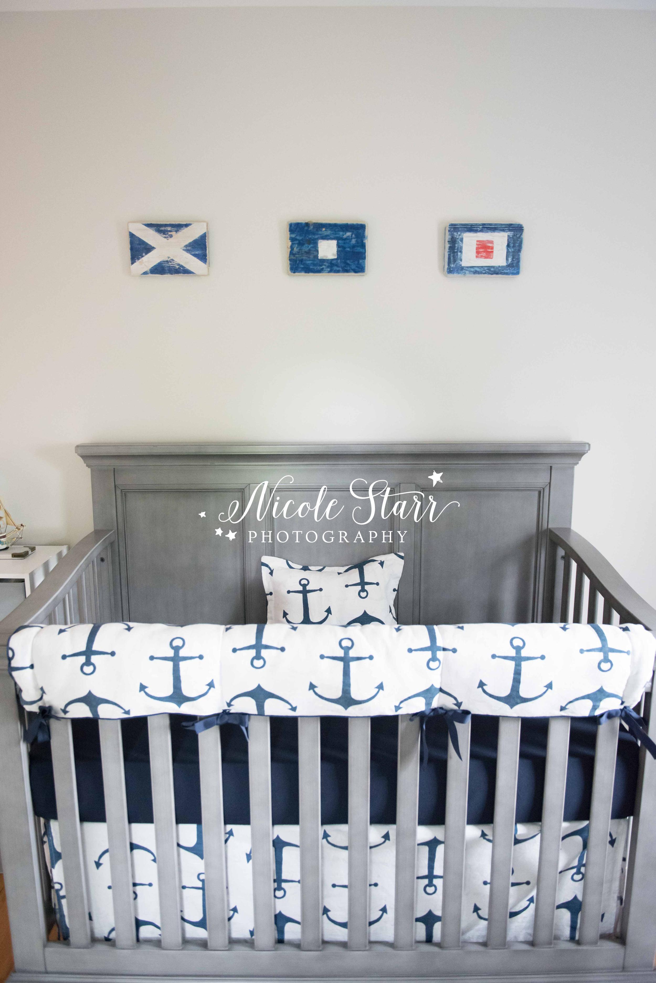 nautical nursery with flags