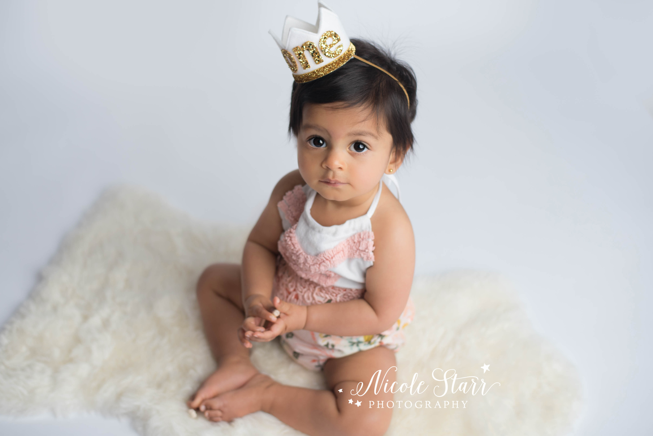 pink birthday girl romper from the stag and the swan, Albany NY photographer nicole starr photography