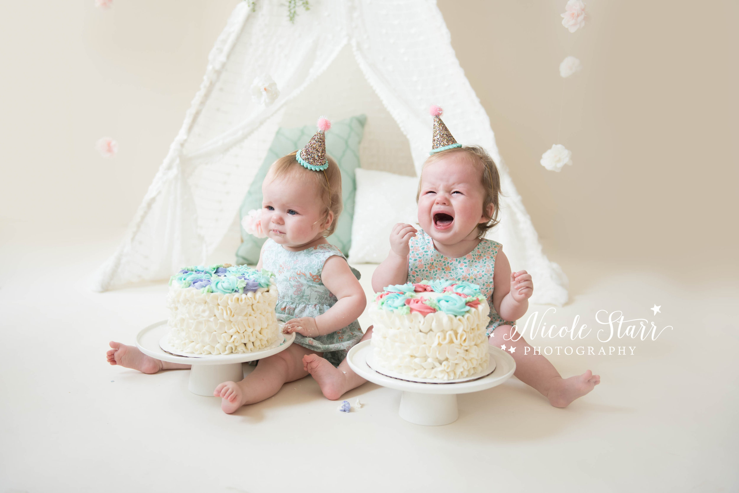 Boston and Saratoga Springs crying baby twins cake smash photo session