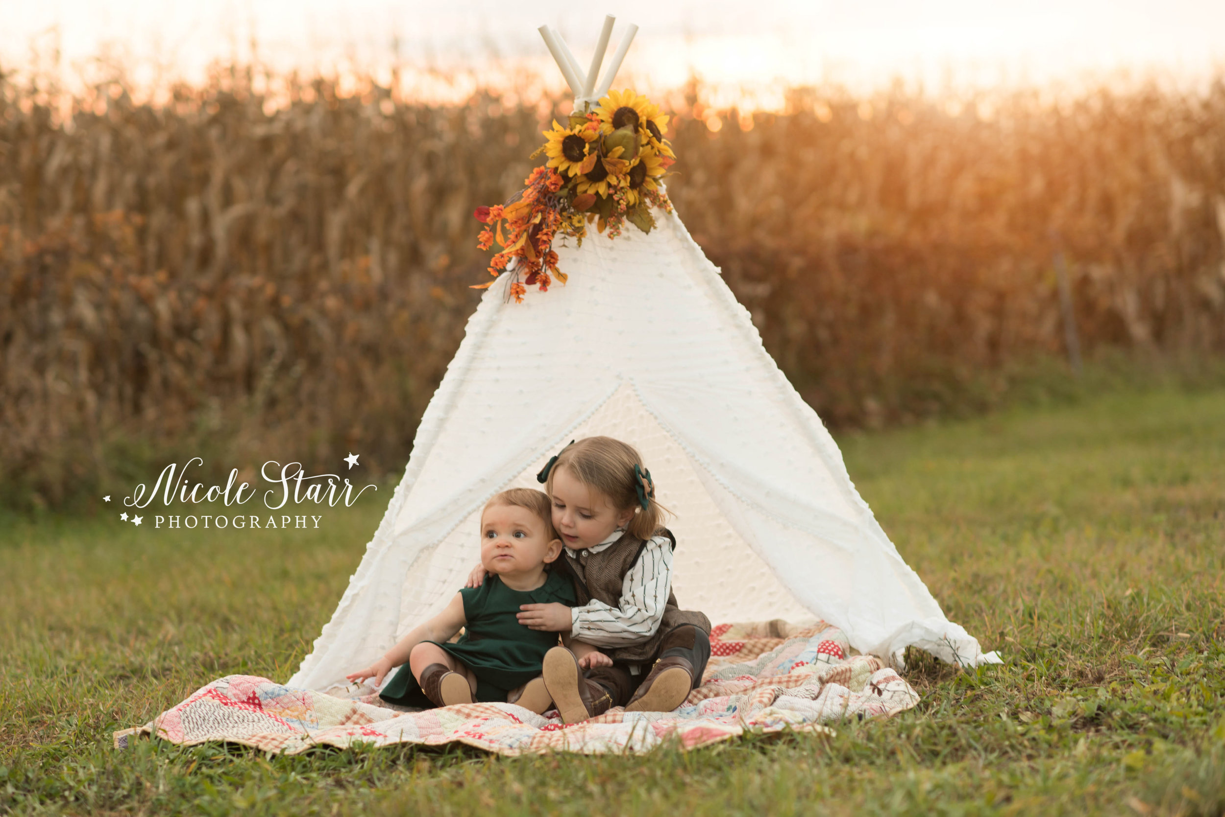 rustic teepee family photos at pitney meadows community farm in saratoga springs